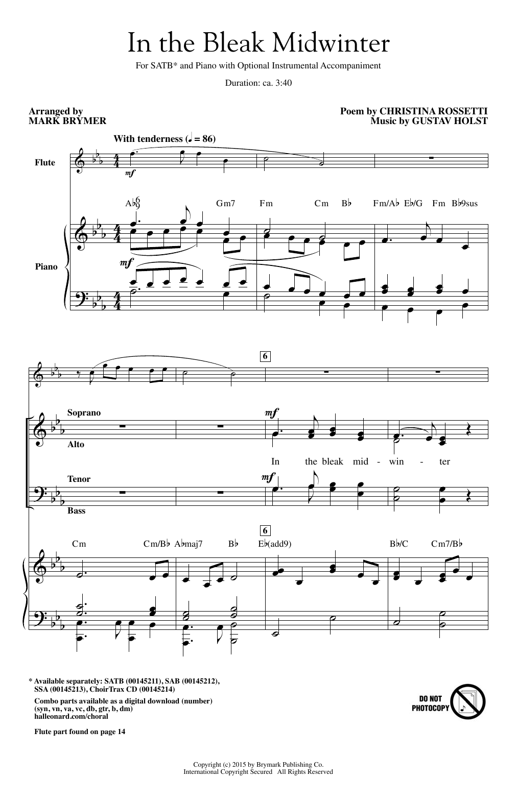 Partition chorale In The Bleak Midwinter (arr. Mark Brymer) de Gustav Holst - SATB