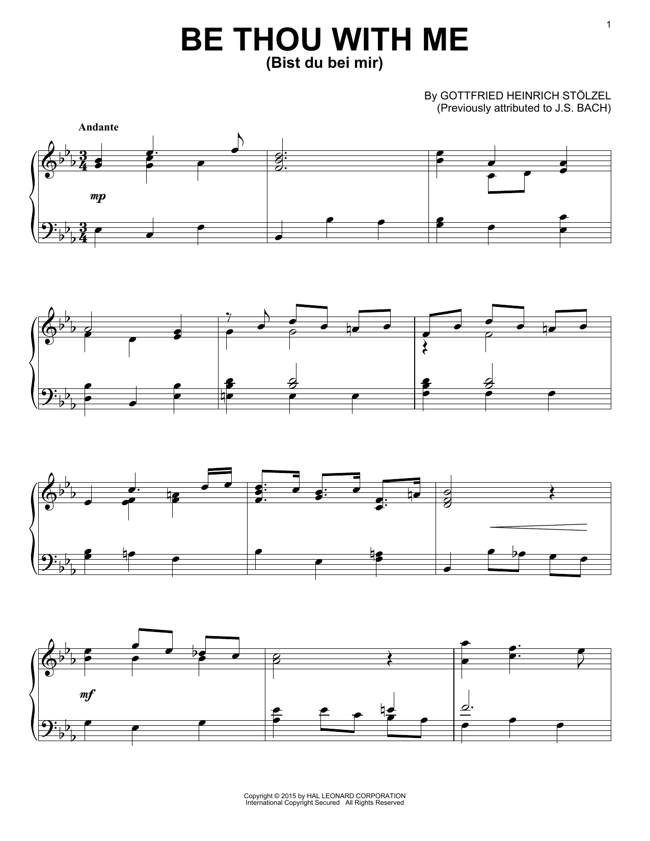 Partition piano Bist Du Bei Mir de Gottfried Heinrich Stolzel - Piano Solo