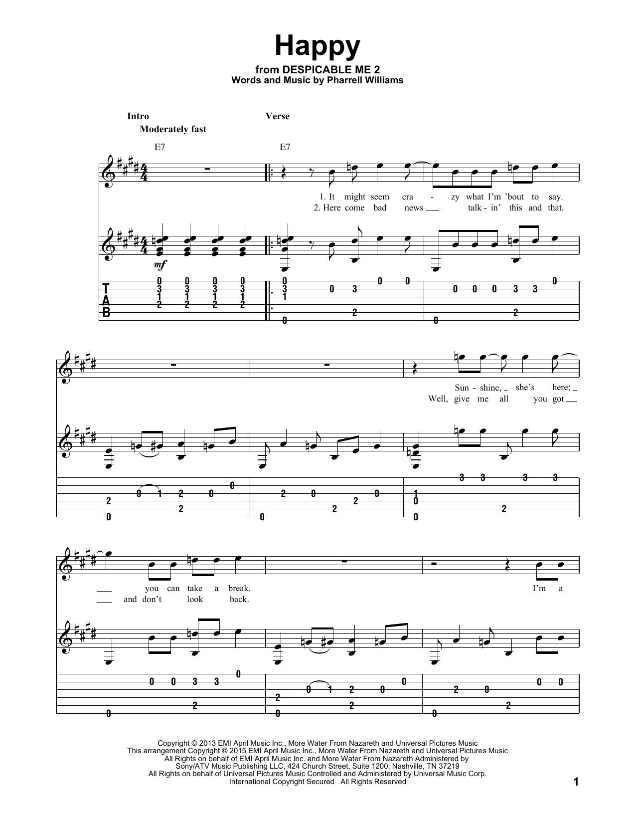 Tablature guitare Happy de Pharrell Williams - Tablature Guitare
