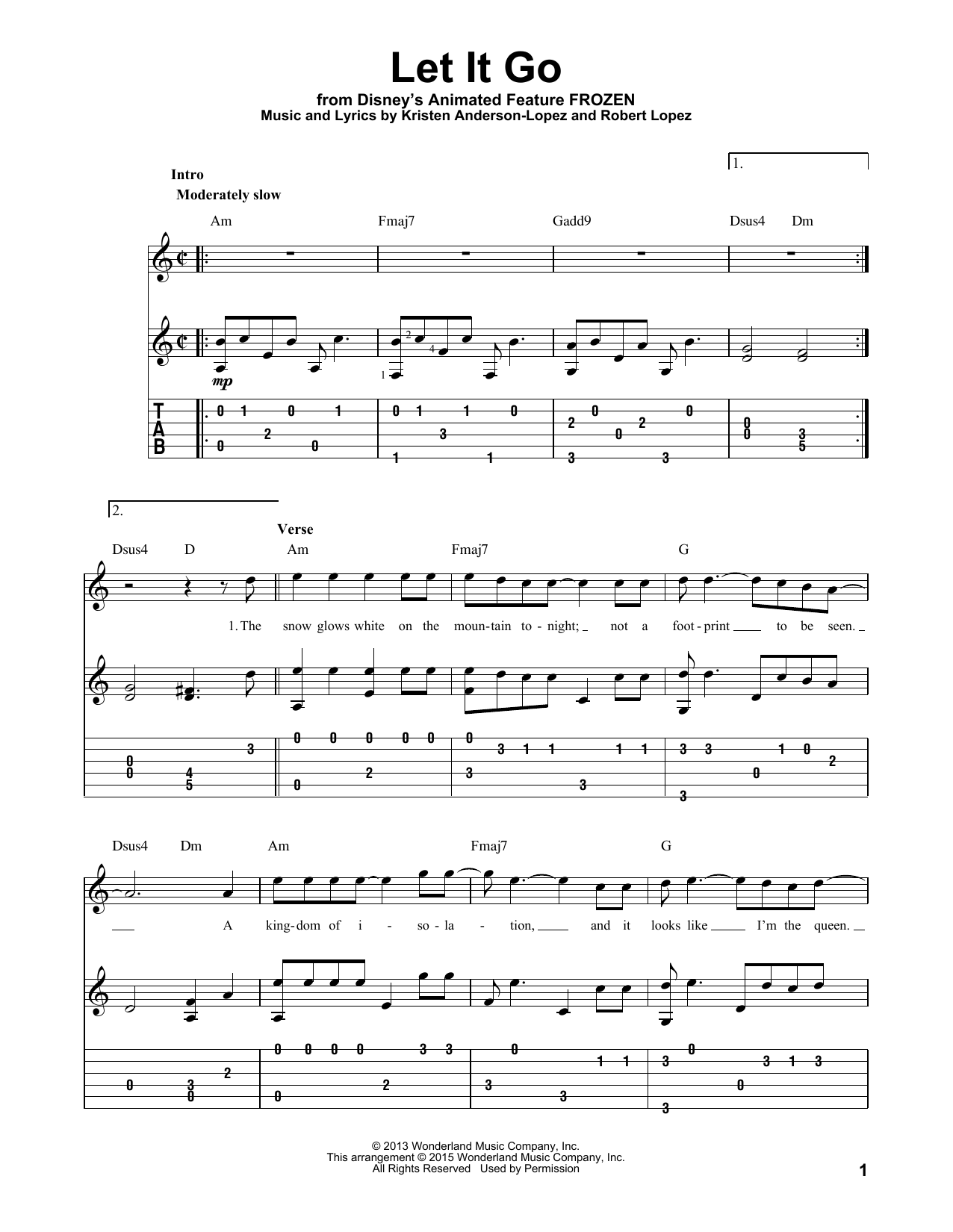 Tablature guitare Let It Go (from Frozen) de Idina Menzel - Tablature Guitare