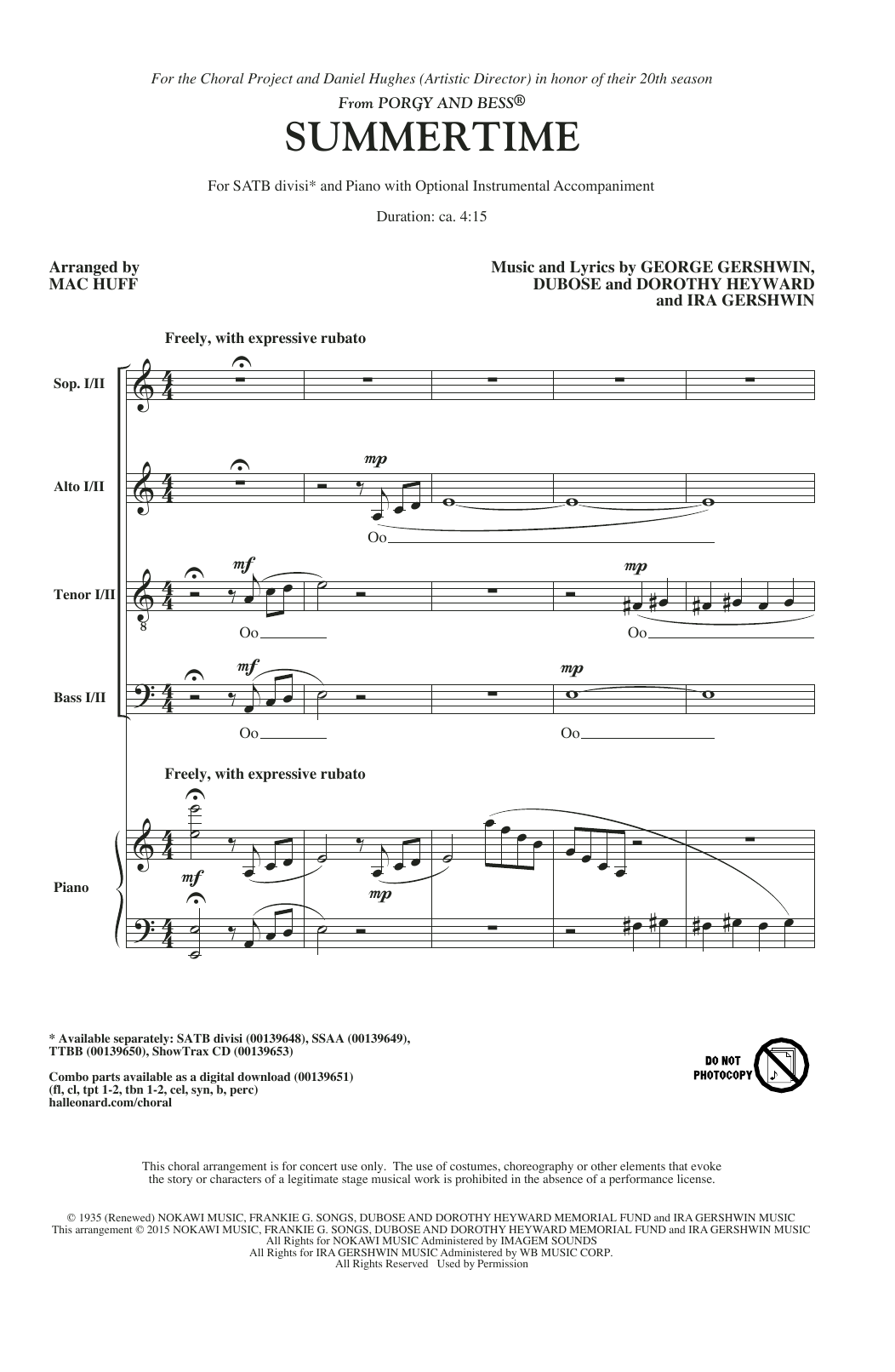 Partition chorale Summertime (arr. Mac Huff) de George Gershwin - SATB