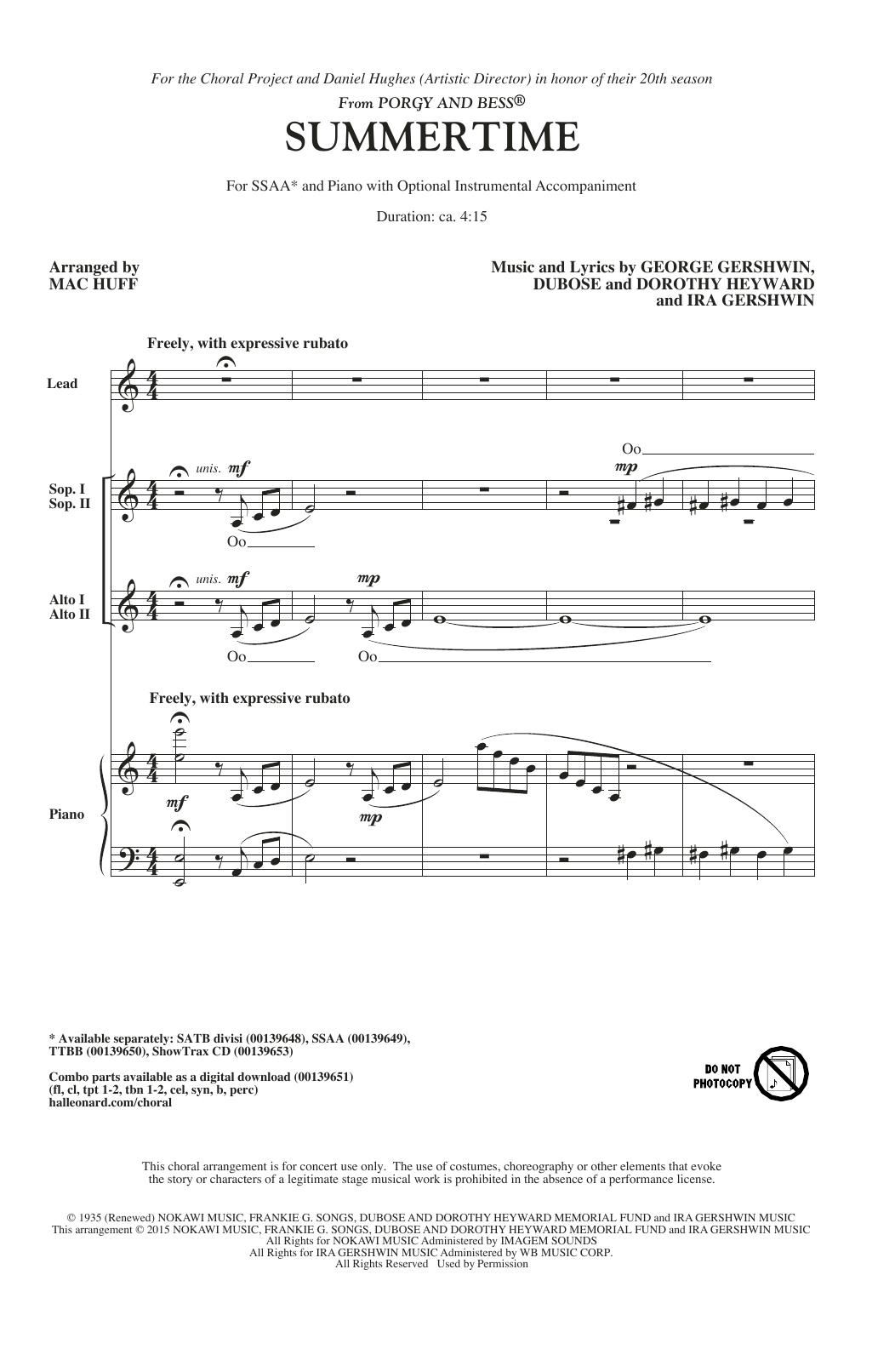 Partition chorale Summertime (arr. Mac Huff) de George Gershwin - SSA