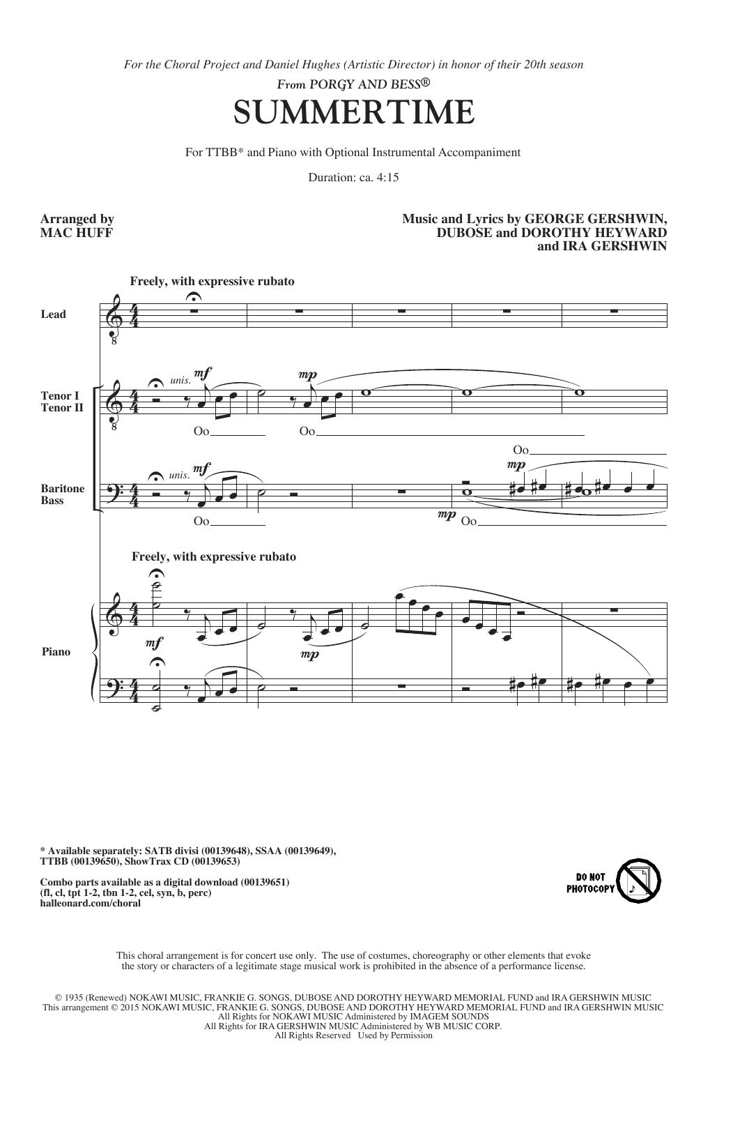 Partition chorale Summertime (arr. Mac Huff) de George Gershwin - TTBB