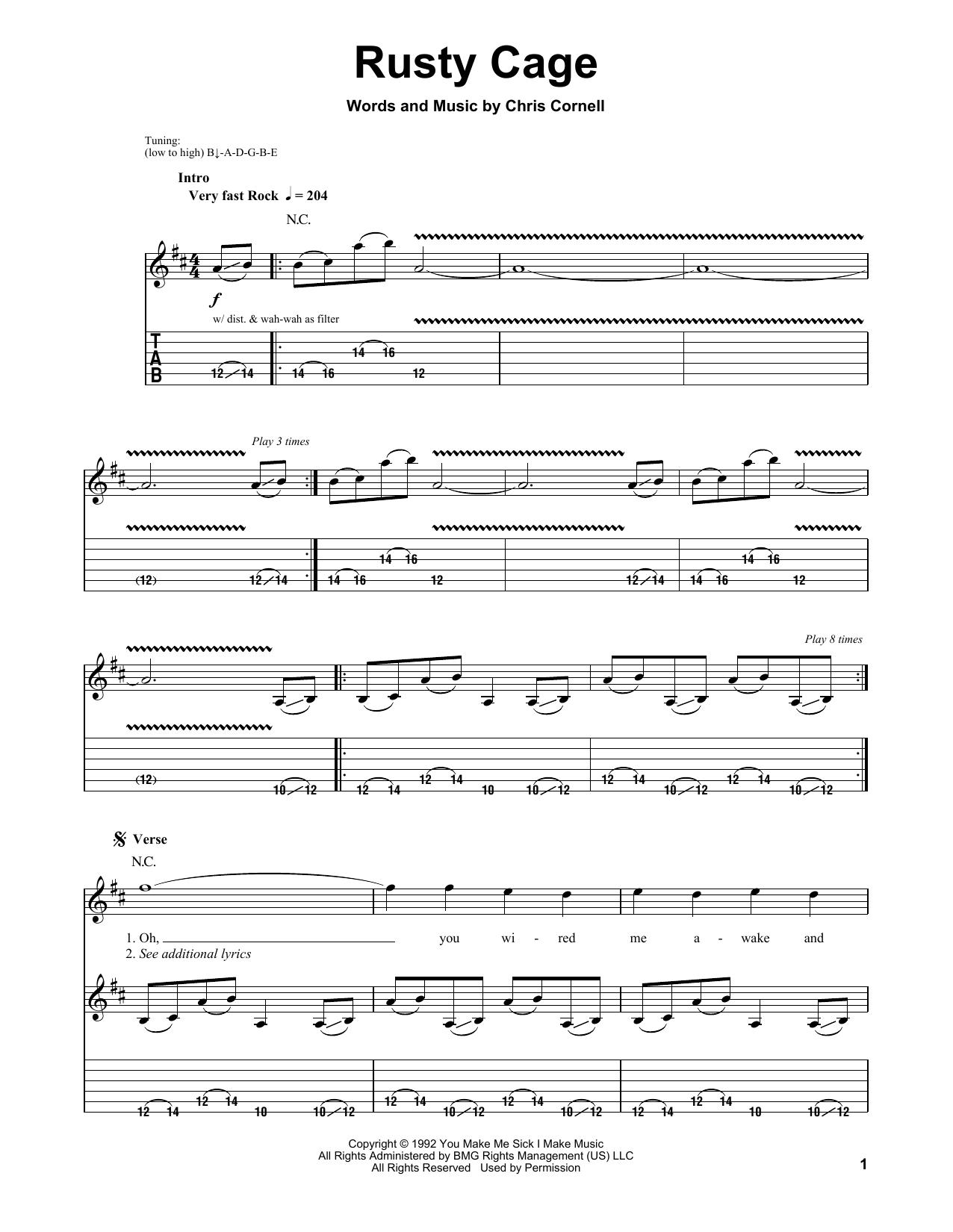Tablature guitare Rusty Cage de Soundgarden - Tablature Guitare