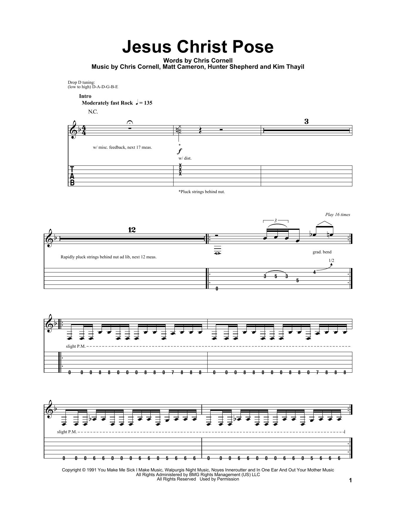 Tablature guitare Jesus Christ Pose de Soundgarden - Tablature Guitare
