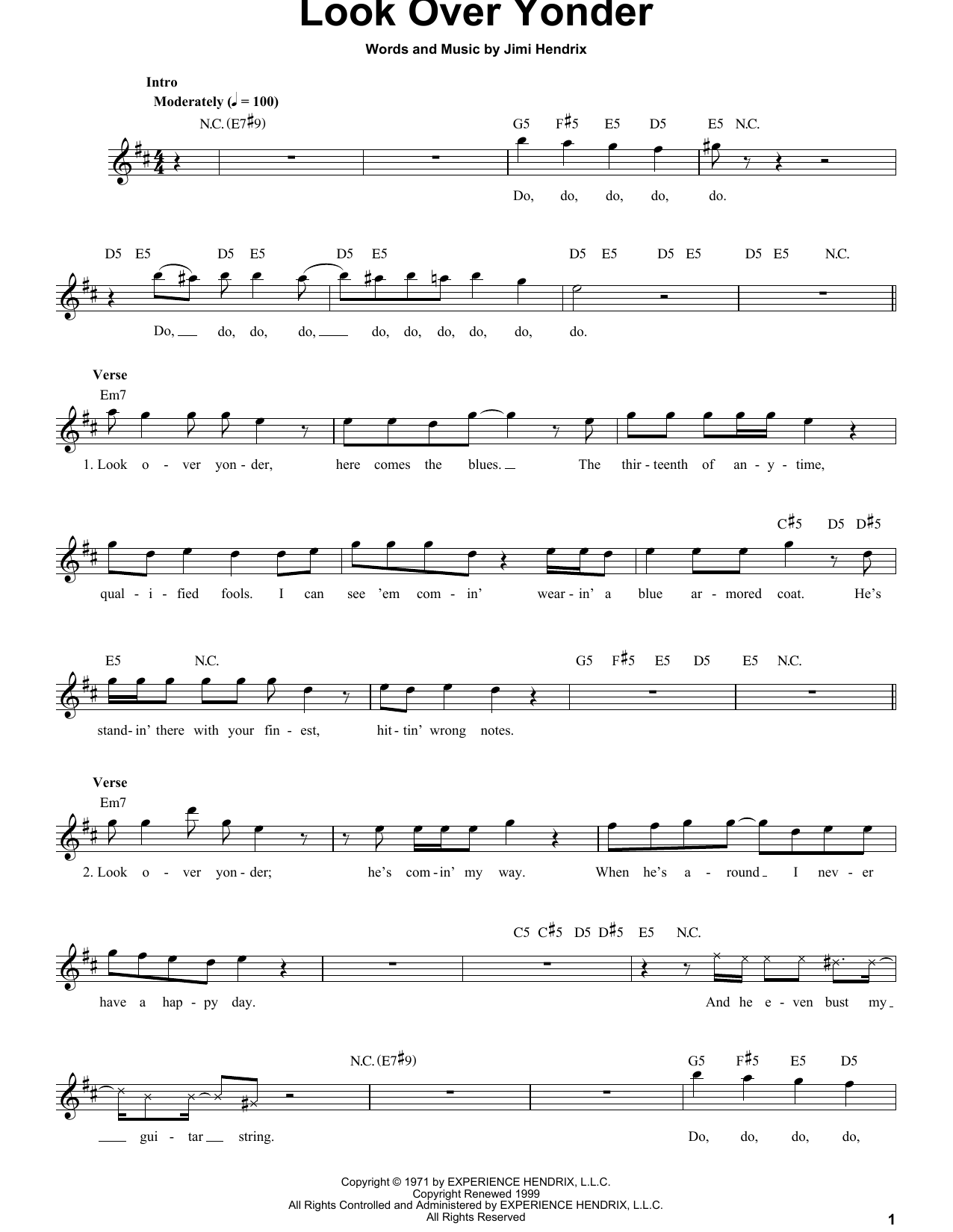 Tablature guitare Look Over Yonder de Jimi Hendrix - Tablature Guitare