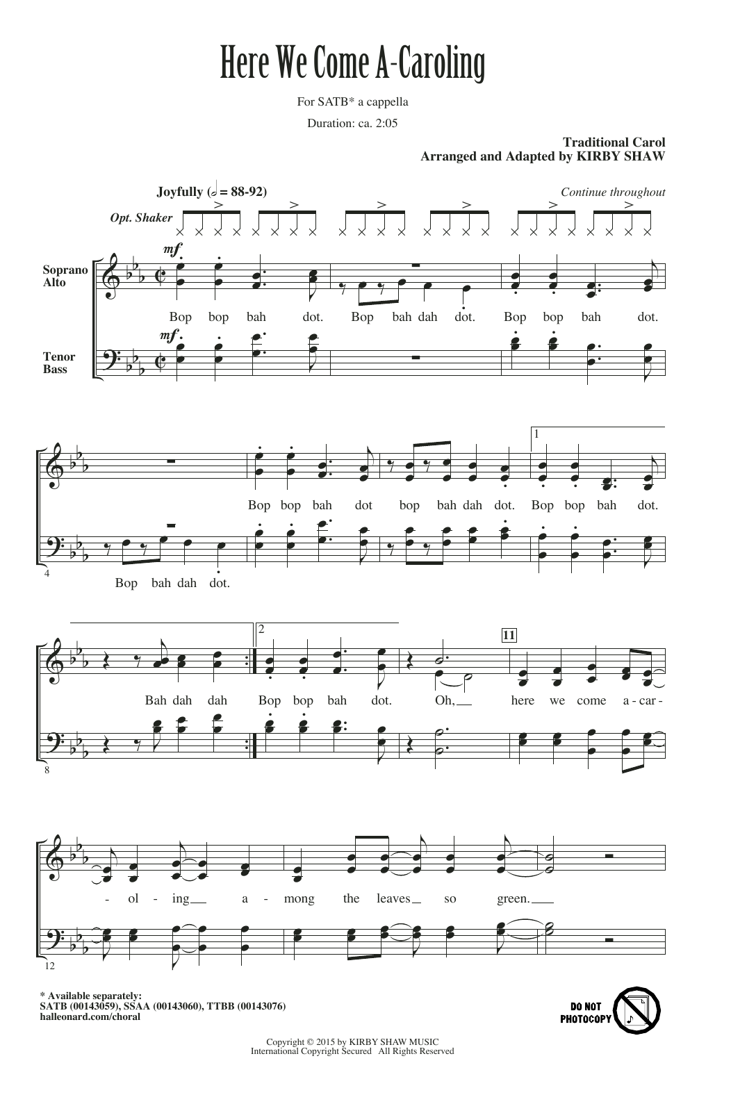 Partition chorale Here We Come A-Caroling (arr. Kirby Shaw) de Traditional - SATB