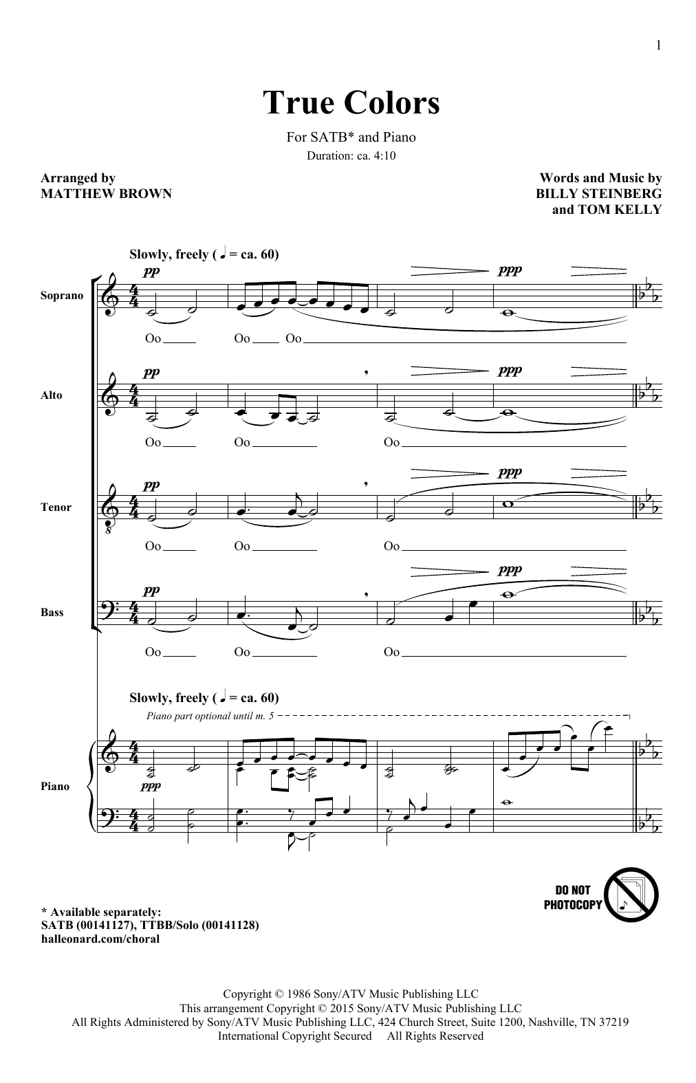 Partition chorale True Colors (arr. Matthew Brown) de Cyndi Lauper - SATB