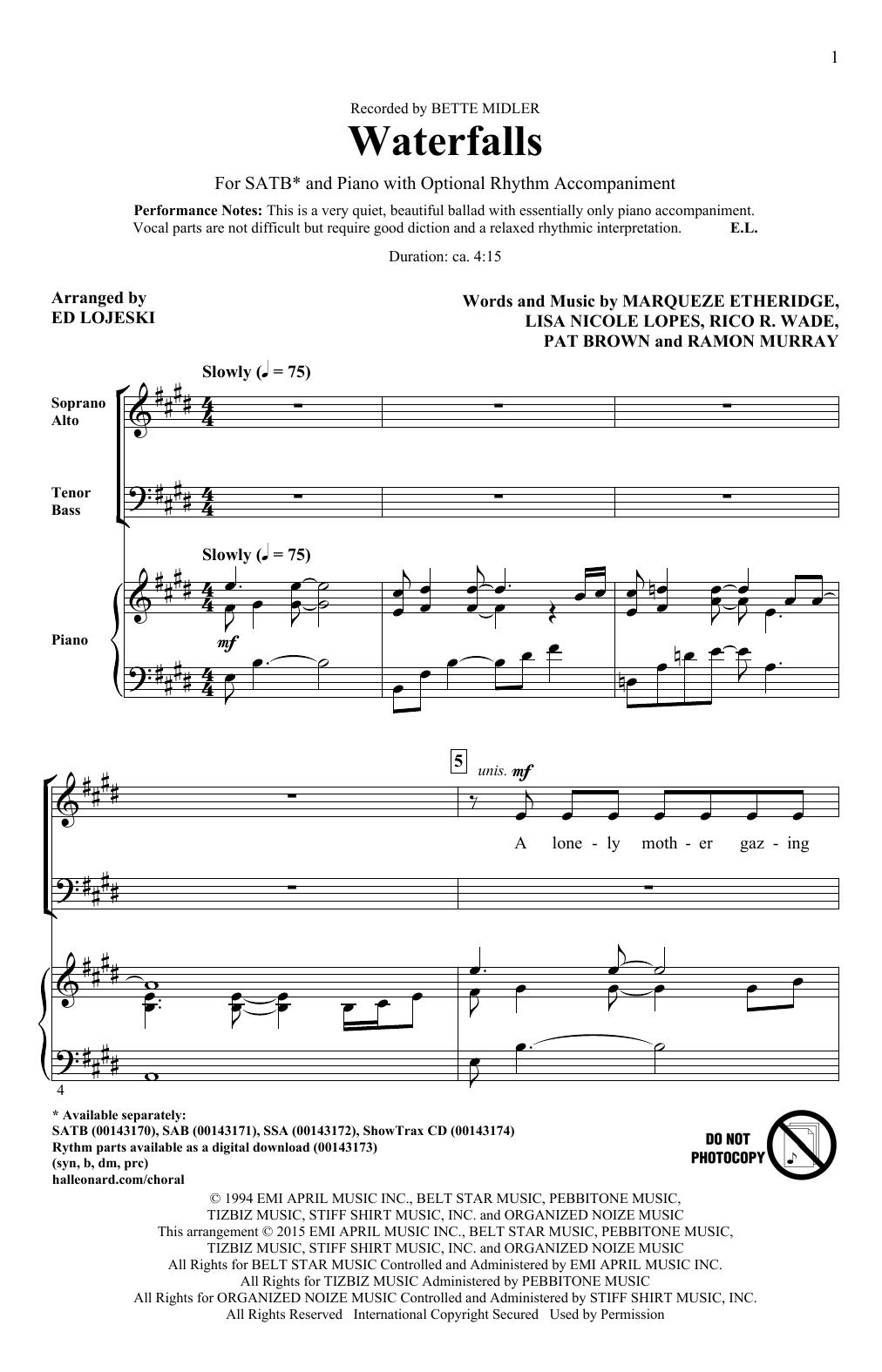Partition chorale Waterfalls (arr. Ed Lojeski) de Bette Midler - SATB