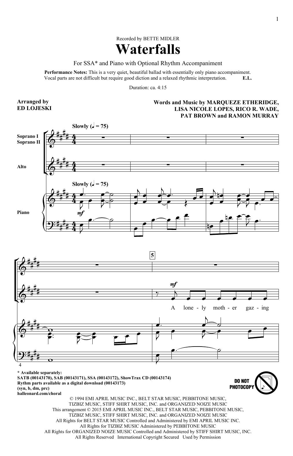Partition chorale Waterfalls (arr. Ed Lojeski) de Bette Midler - SSA