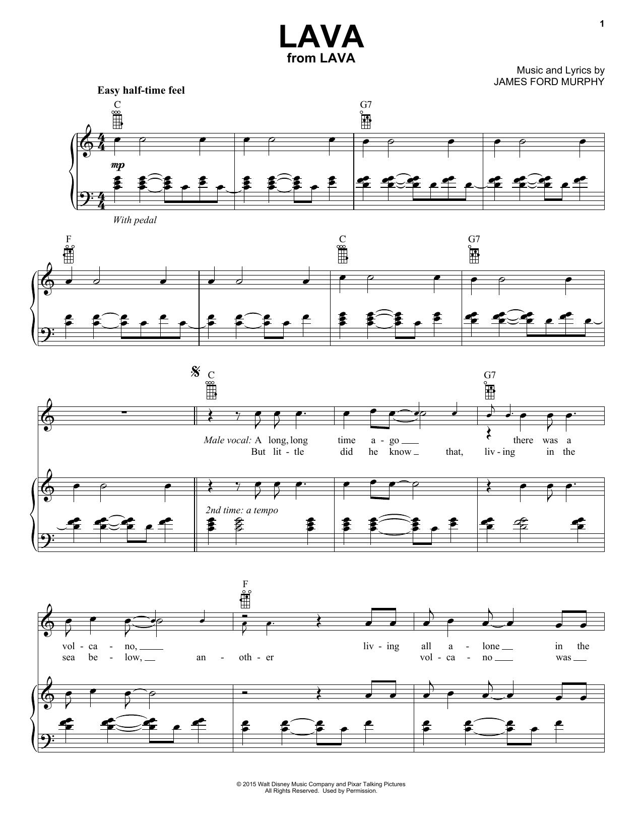 Partition piano Lava de James Ford Murphy - Piano Voix Guitare (Mélodie Main Droite)