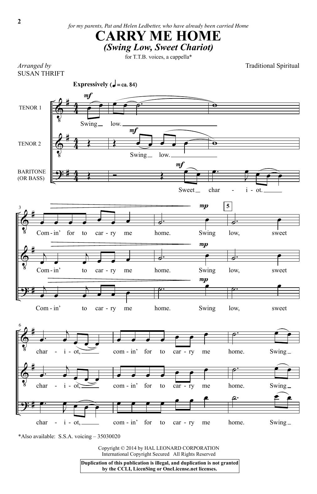 Partition autre Carry Me Home (Swing Low, Sweet Chariot) (arr. Susan Thrift) de African-American Spiritual - Autre