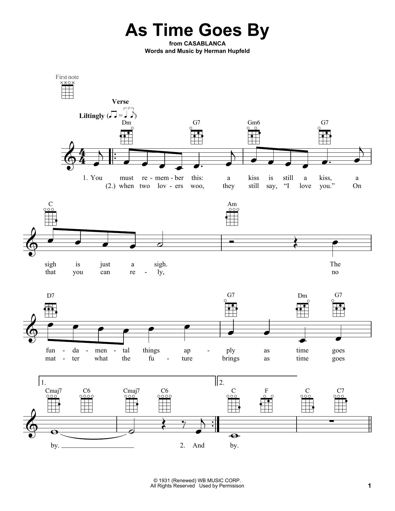 Tablature guitare As Time Goes By de Herman Hupfeld - Ukulele