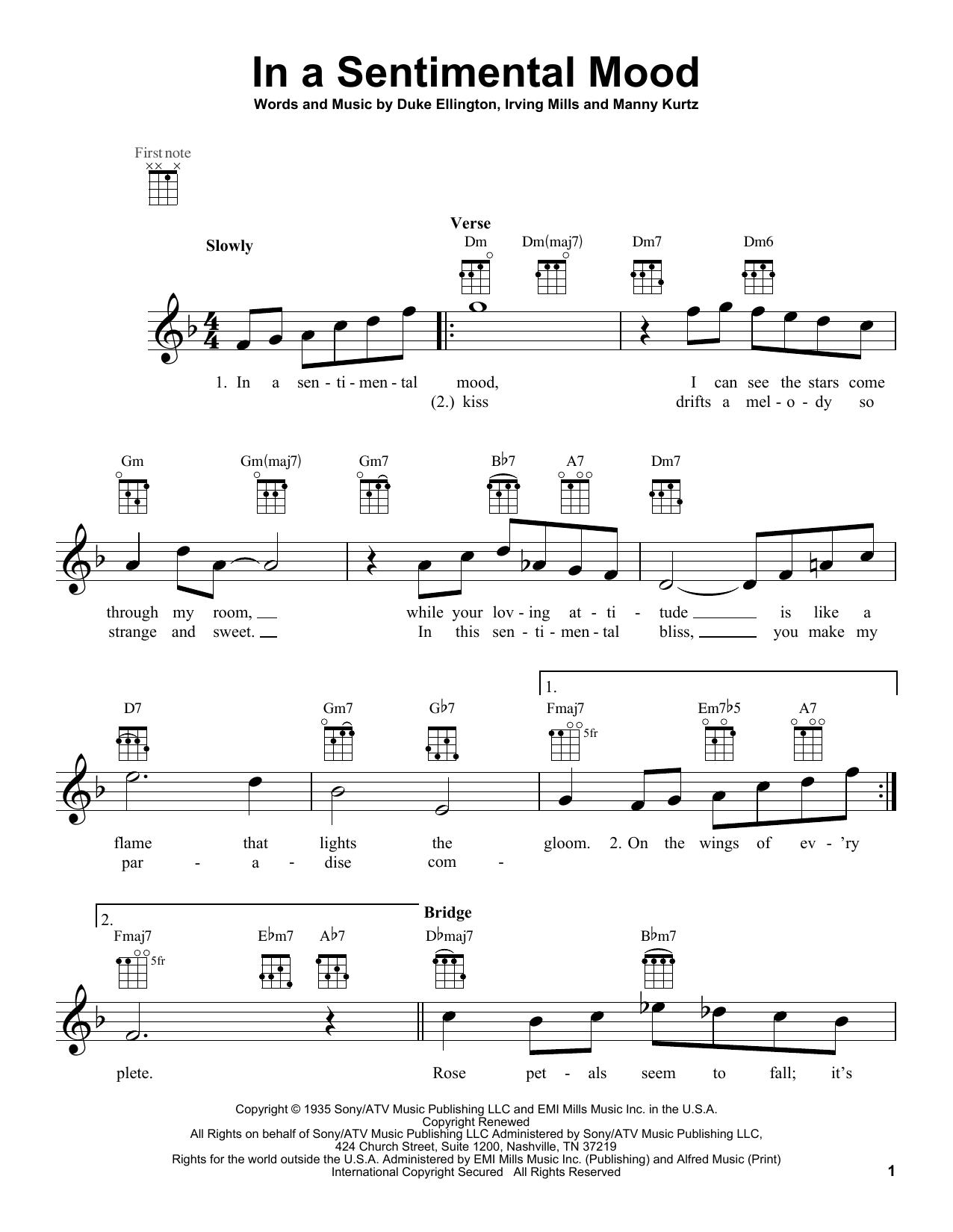 Tablature guitare In A Sentimental Mood de Duke Ellington - Ukulele