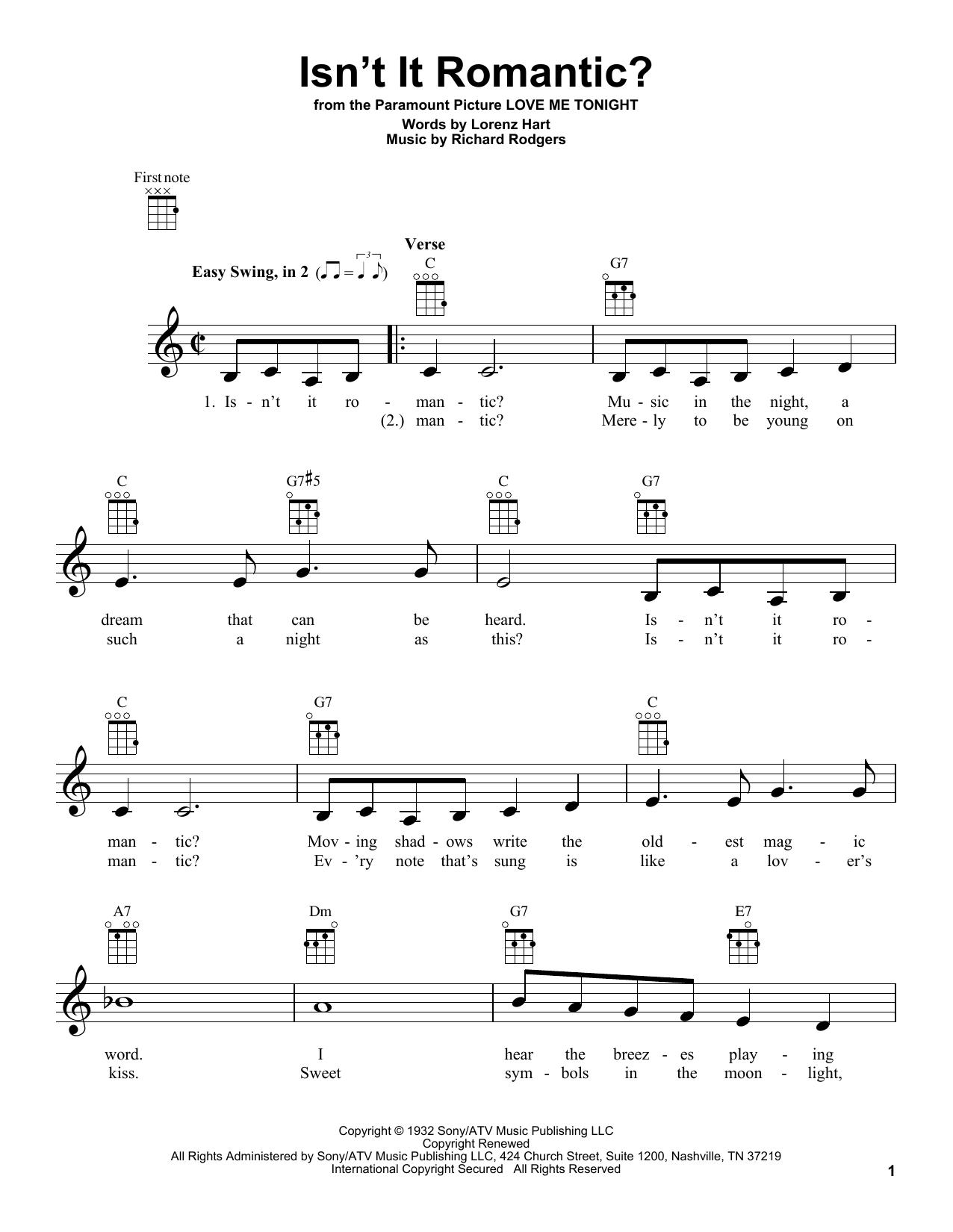 Tablature guitare Isn't It Romantic? de Rodgers & Hart - Ukulele