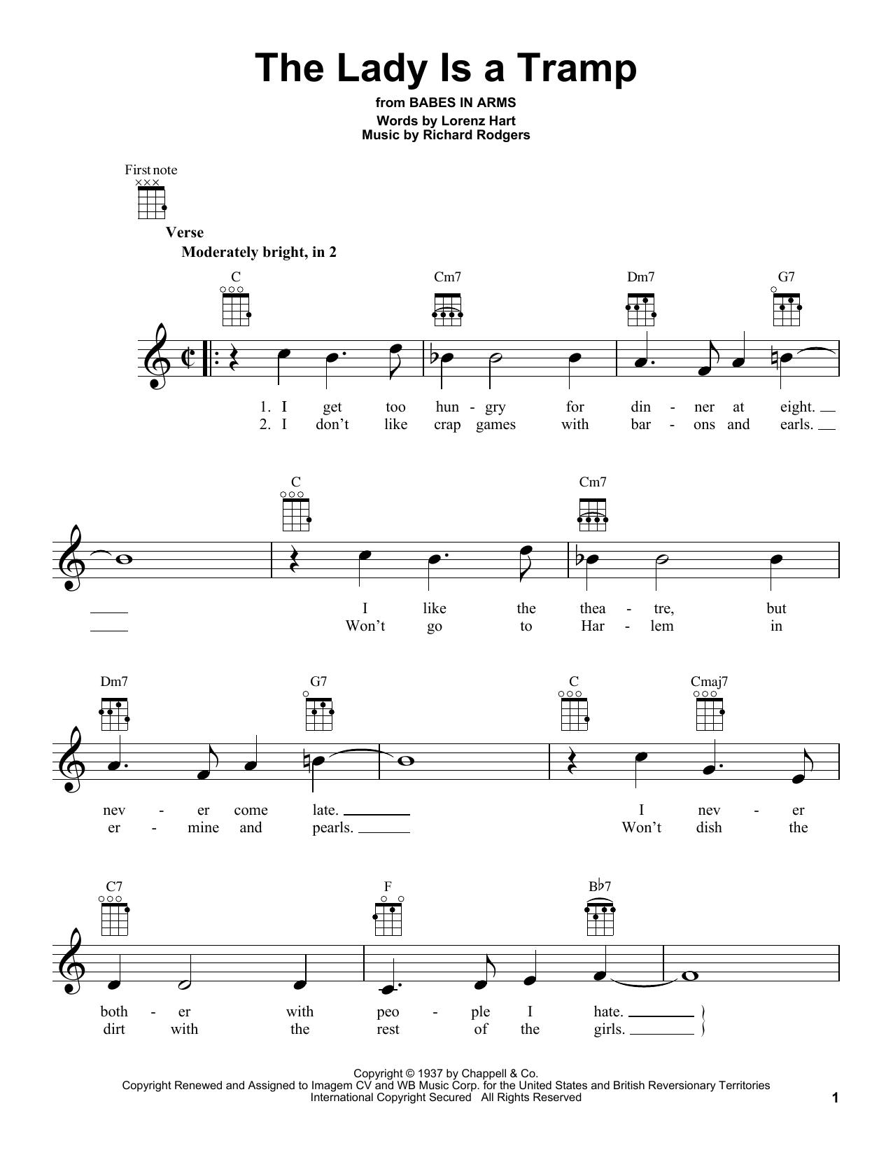 Tablature guitare The Lady Is A Tramp de Rodgers & Hart - Ukulele