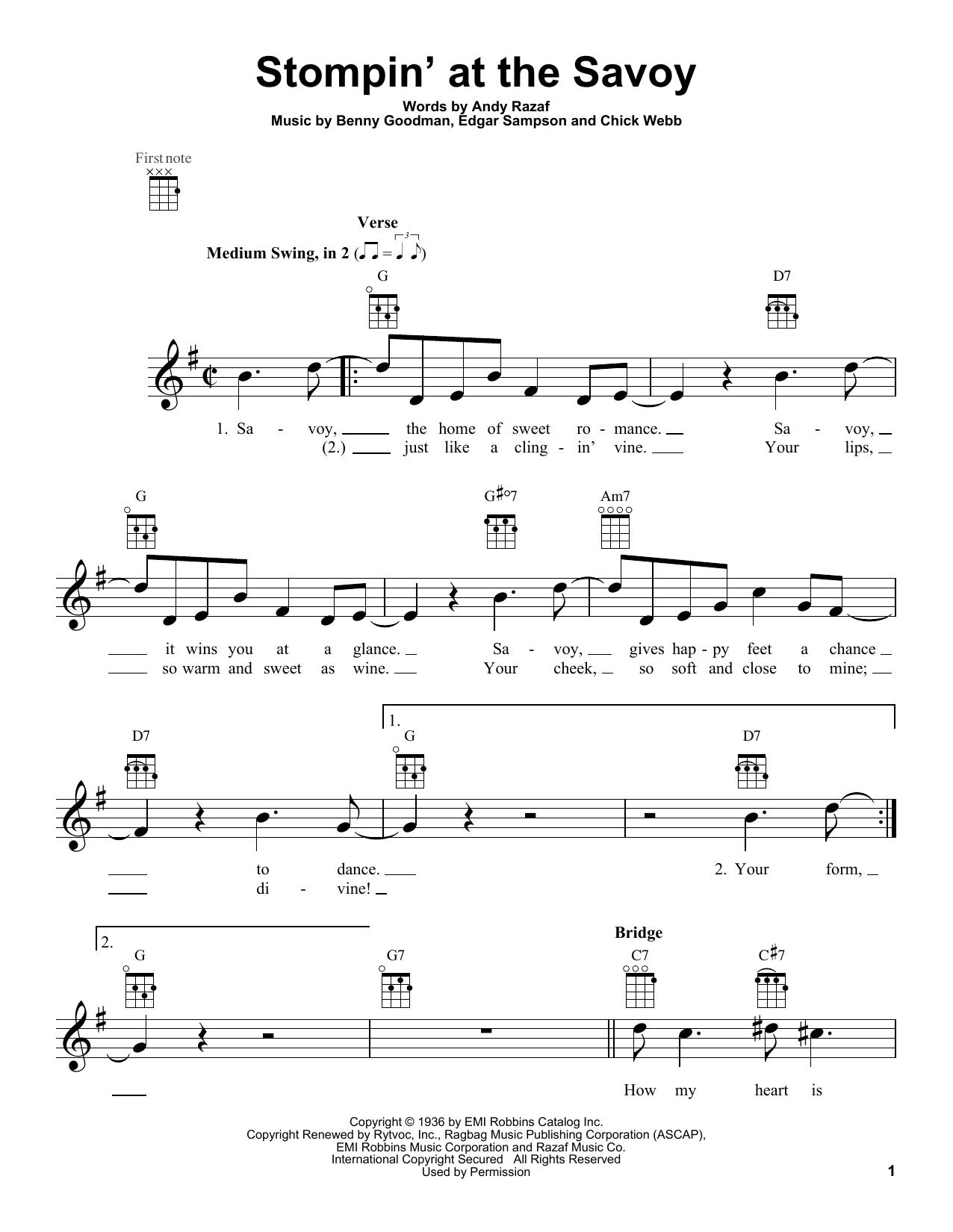 Tablature guitare Stompin' At The Savoy de Benny Goodman - Ukulele