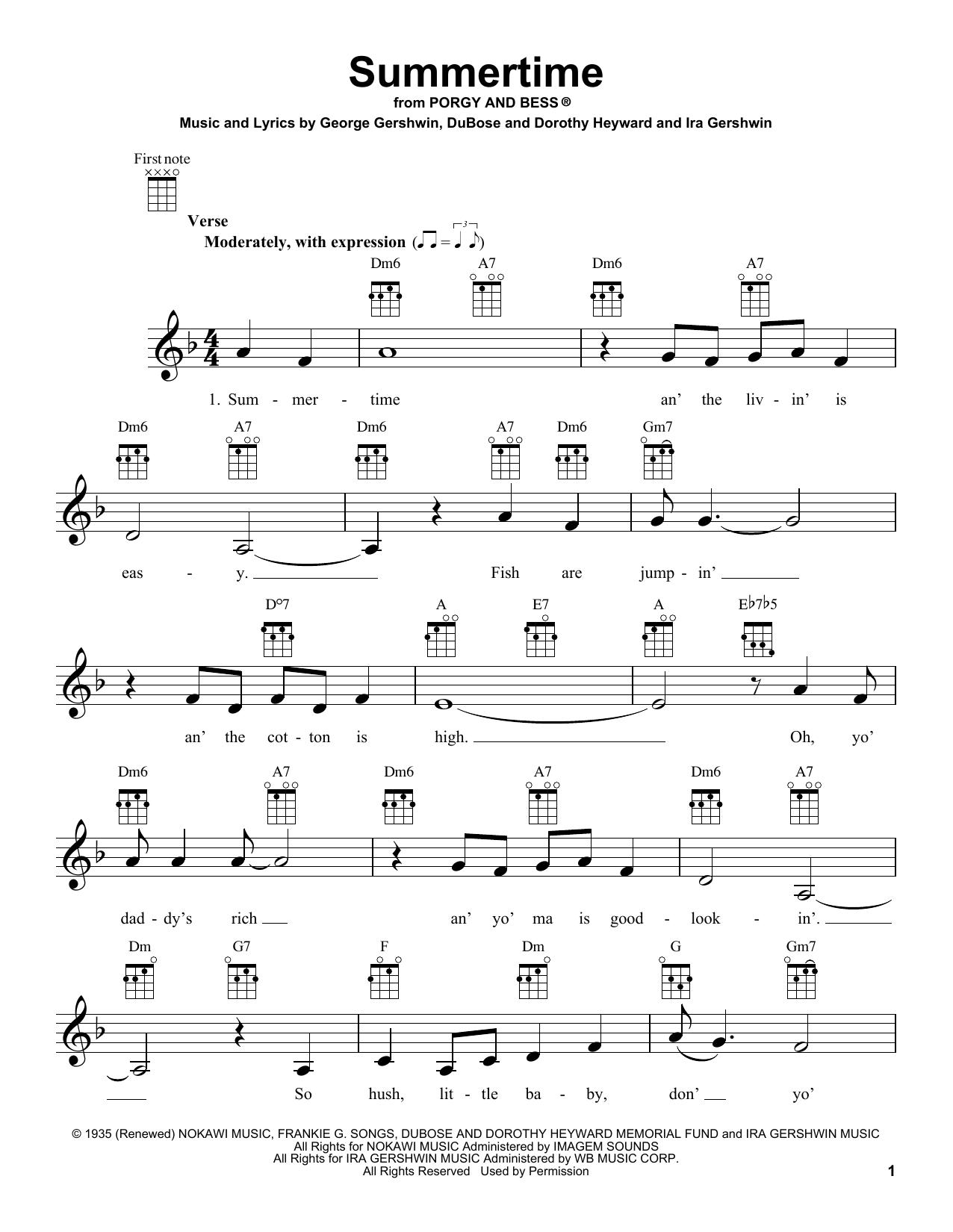 Tablature guitare Summertime de George Gershwin - Ukulele
