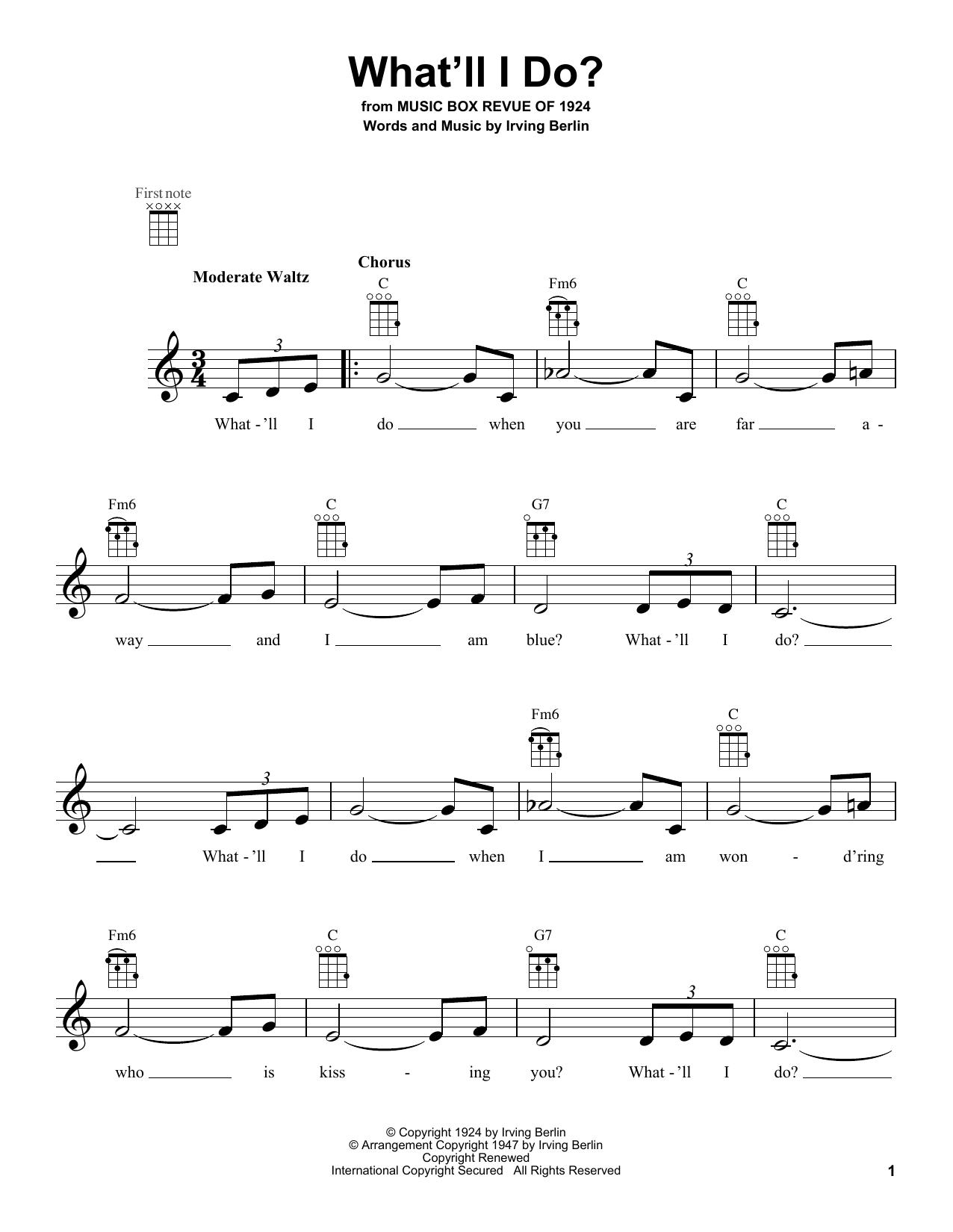 Tablature guitare What'll I Do? de Irving Berlin - Ukulele