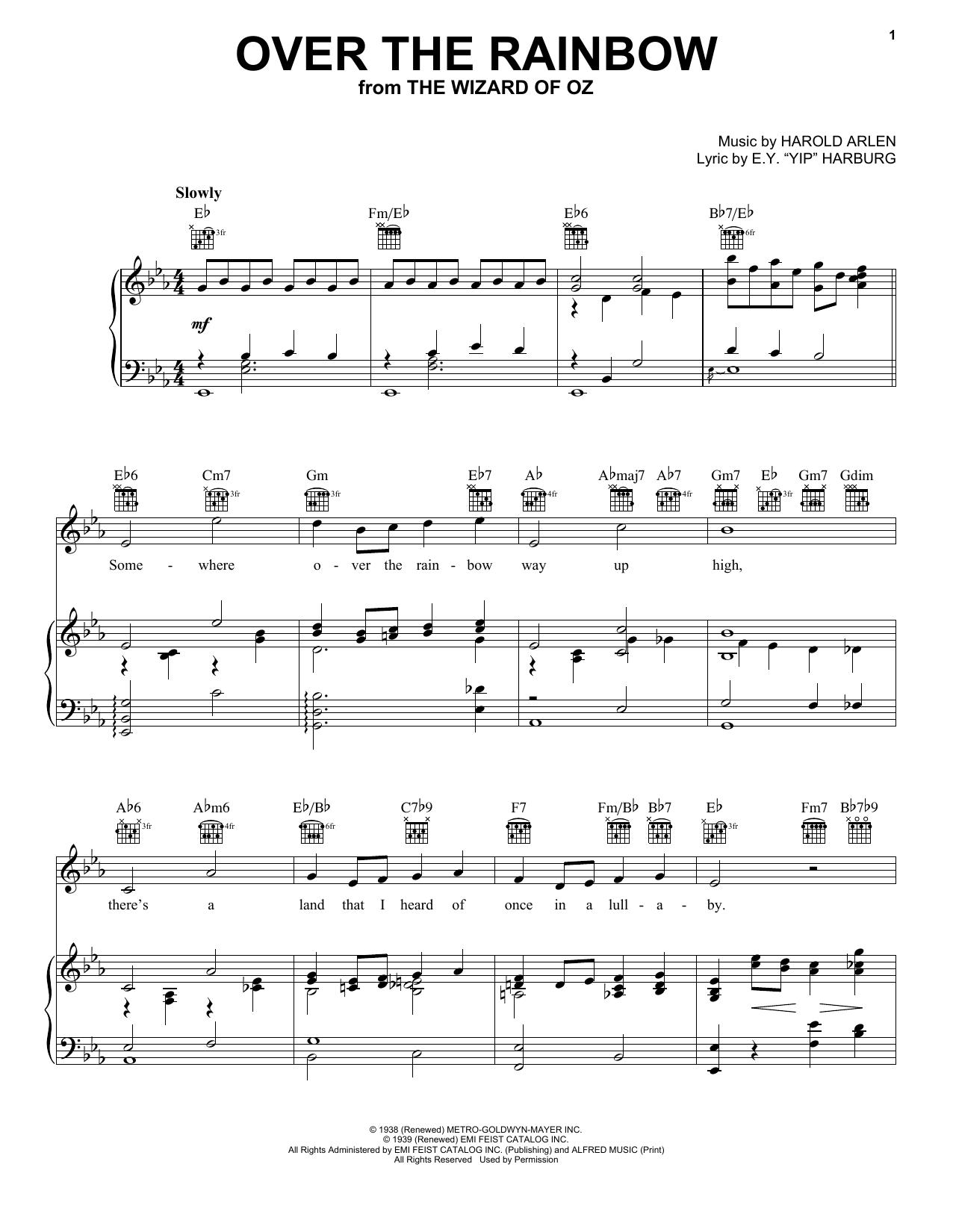 Partition piano Over The Rainbow de Harry Nilsson - Piano Voix Guitare (Mélodie Main Droite)