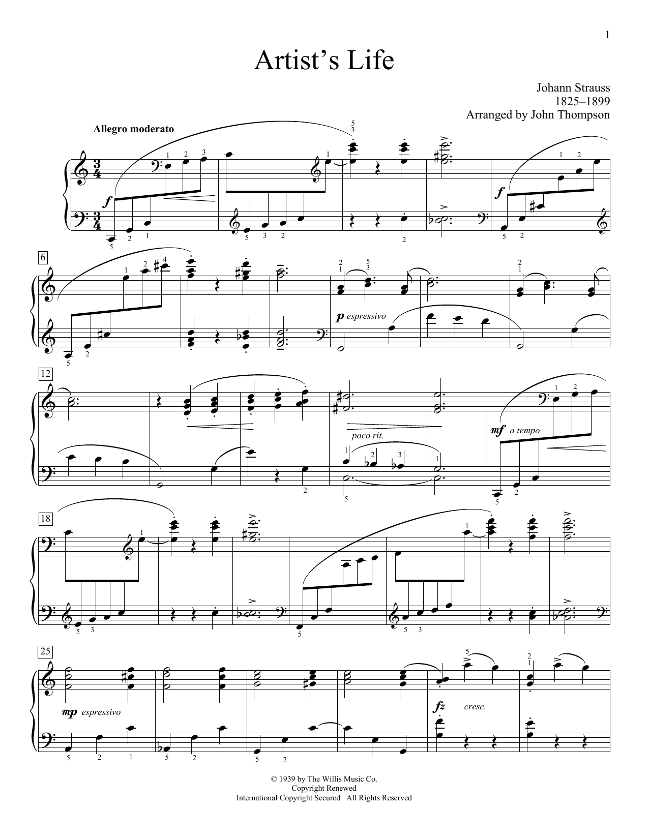 Partition piano Artist's Life (arr. John Thompson) de Johann Strauss II - Piano Facile