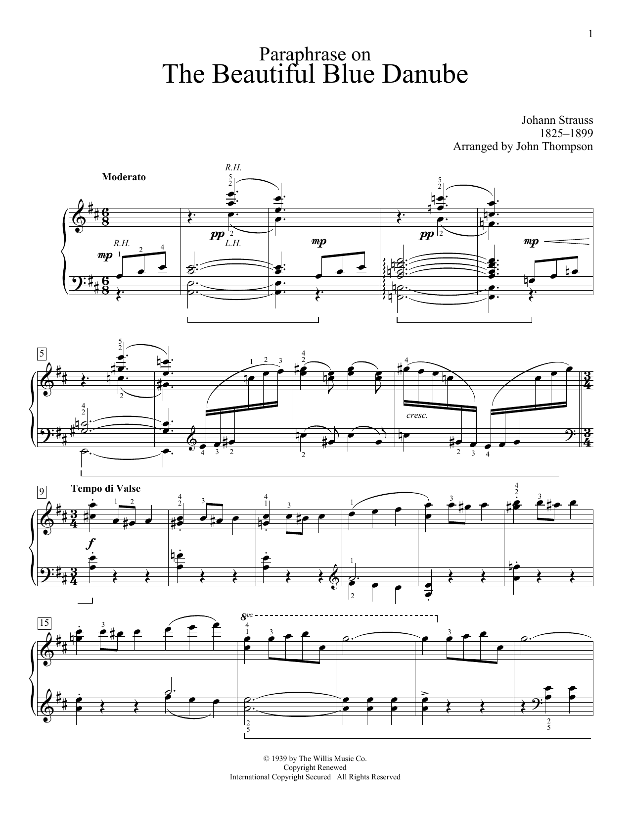 Partition piano Paraphrase On The Beautiful Blue Danube Waltzes de John Thompson - Piano Facile
