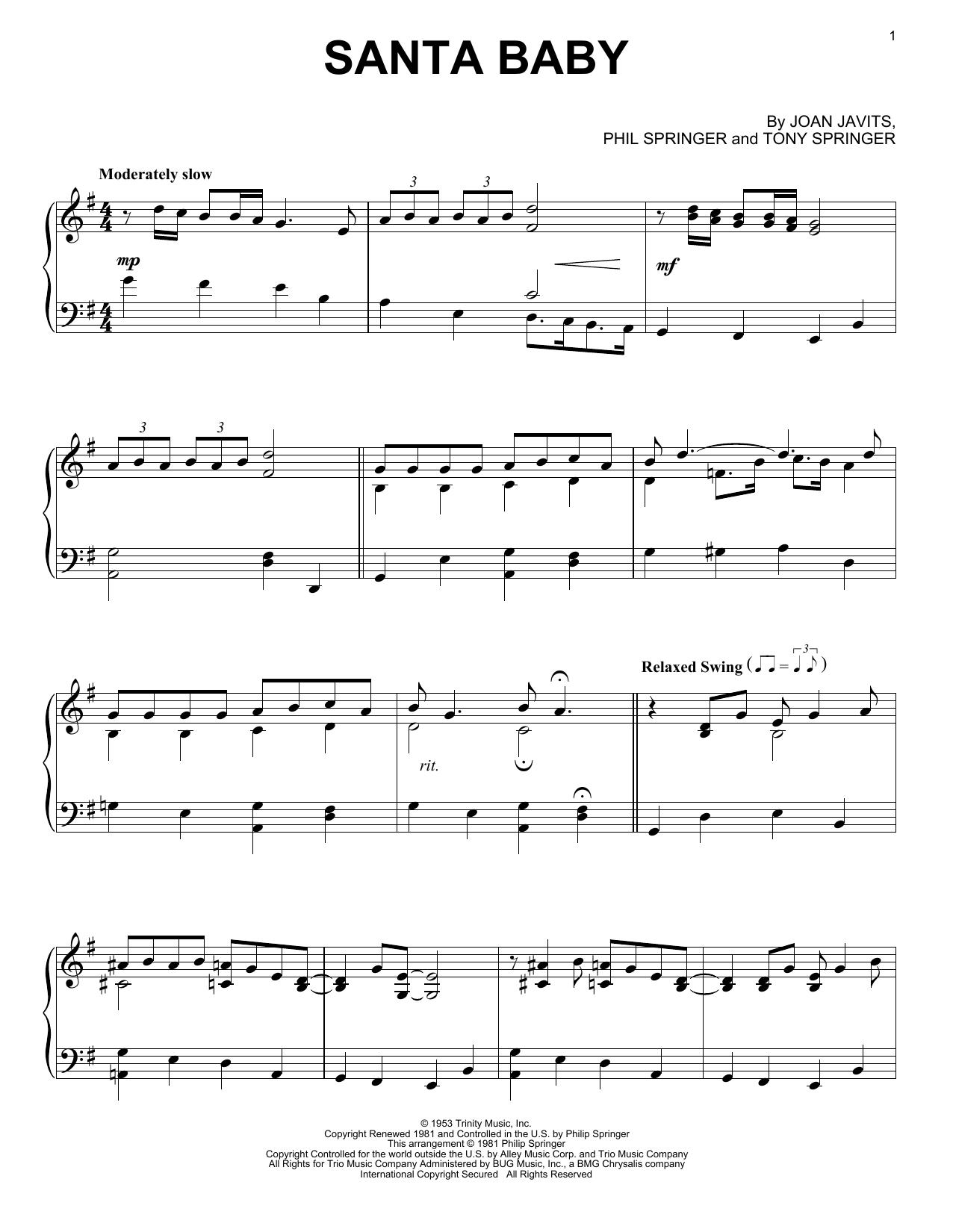 Partition piano Santa Baby de Joan Javits - Piano Solo