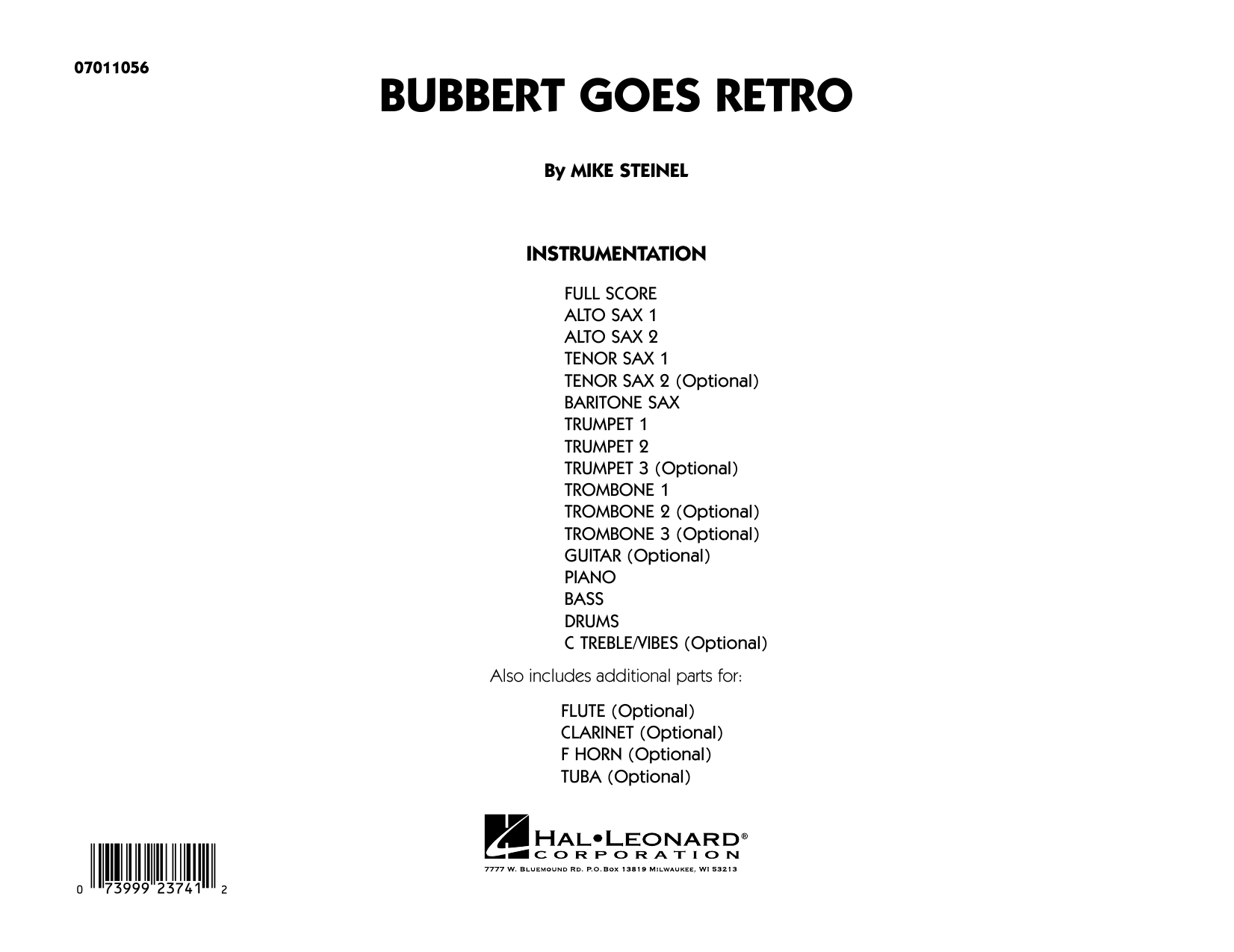 Bubbert Goes Retro (COMPLETE) sheet music for jazz band by Mike Steinel