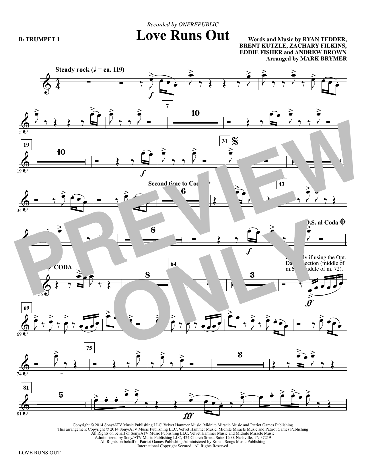 Love Runs Out (complete set of parts) sheet music for orchestra/band by Mark Brymer