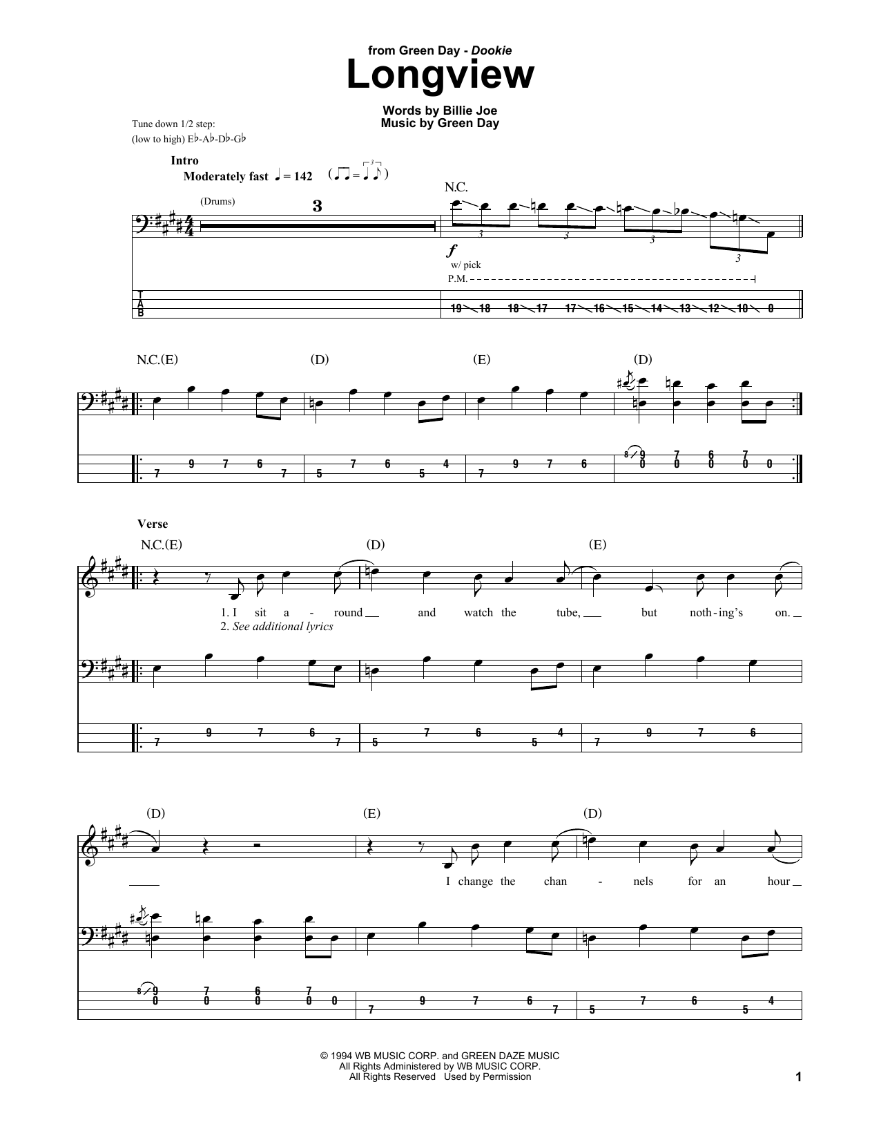 Tablature guitare Longview de Green Day - Tablature Basse