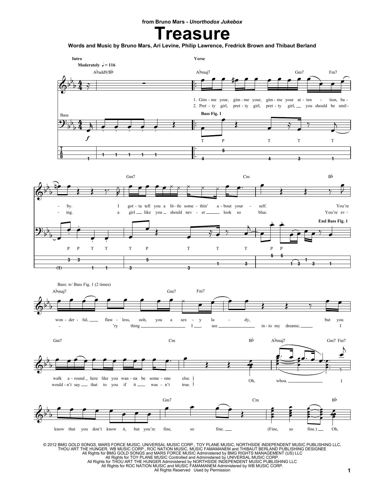 Tablature guitare Treasure de Bruno Mars - Tablature Basse
