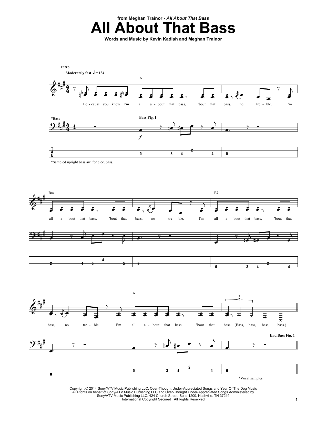 Tablature guitare All About That Bass de Meghan Trainor - Tablature Basse