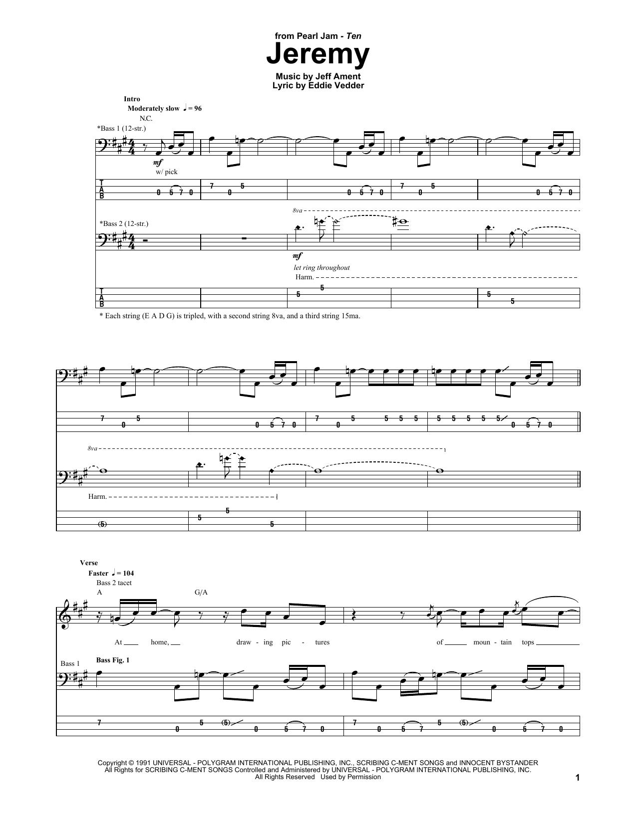 Tablature guitare Jeremy de Pearl Jam - Tablature Basse