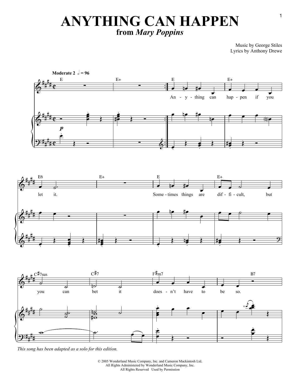 Partition piano Anything Can Happen de Anthony Drewe - Piano Voix