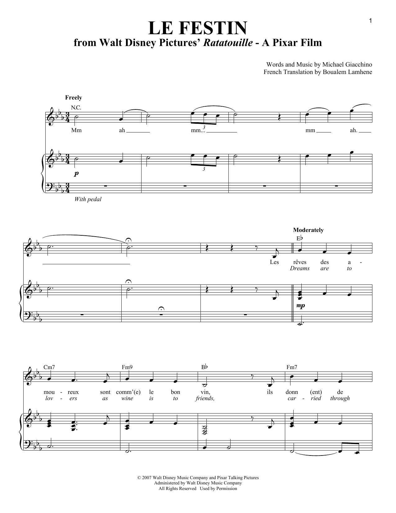 Partition piano Le Festin de Michael Giacchino - Piano Voix