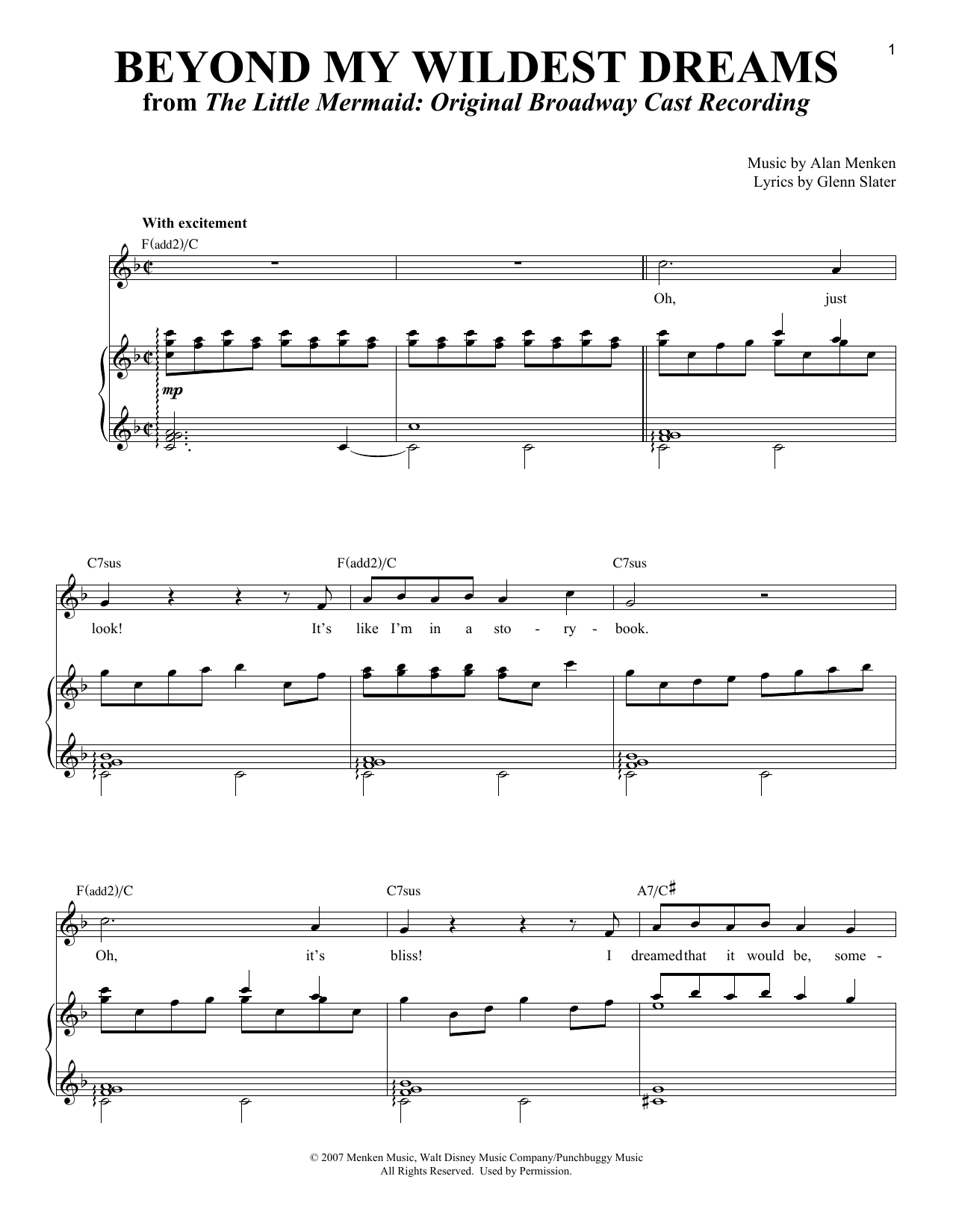 Partition piano Beyond My Wildest Dreams de Alan Menken - Piano Voix