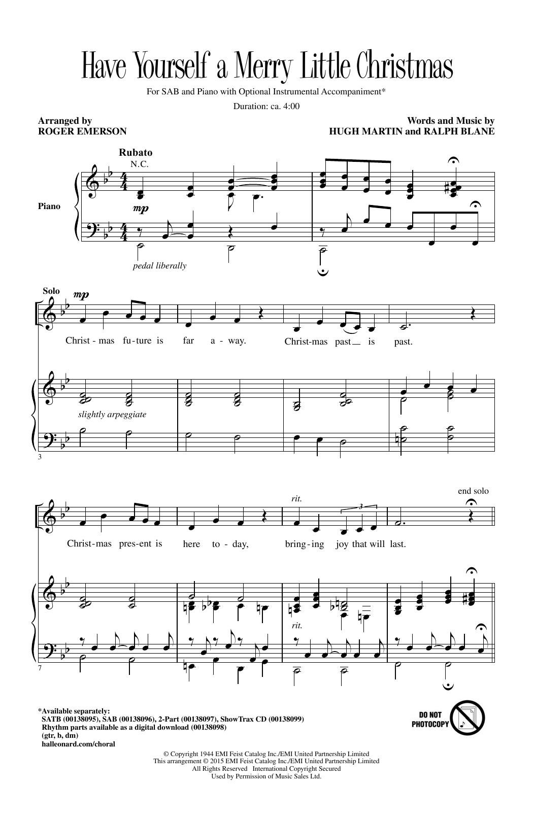 Partition chorale Have Yourself A Merry Little Christmas (arr. Roger Emerson) de Carpenters - SAB
