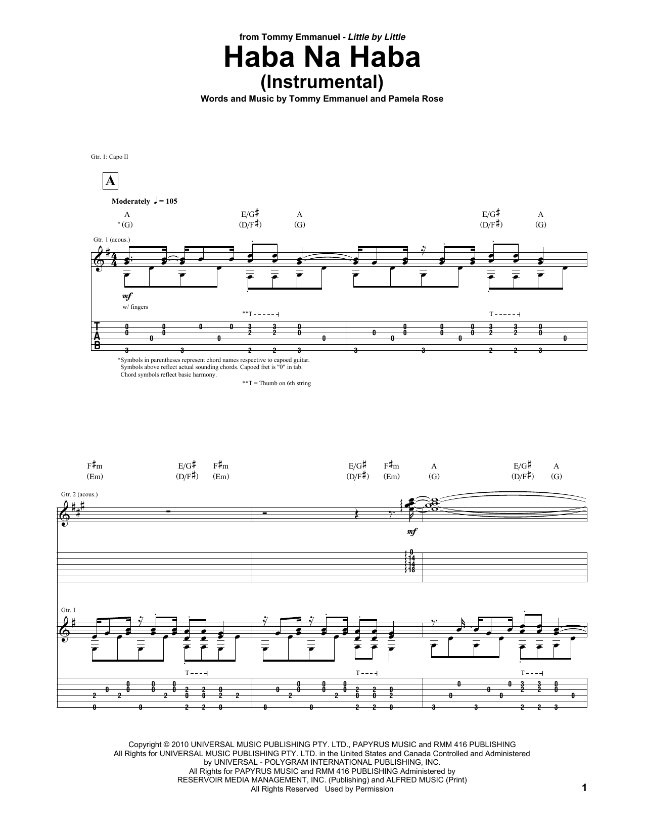 Tablature guitare Haba Na Haba de Tommy Emmanuel - Tablature Guitare