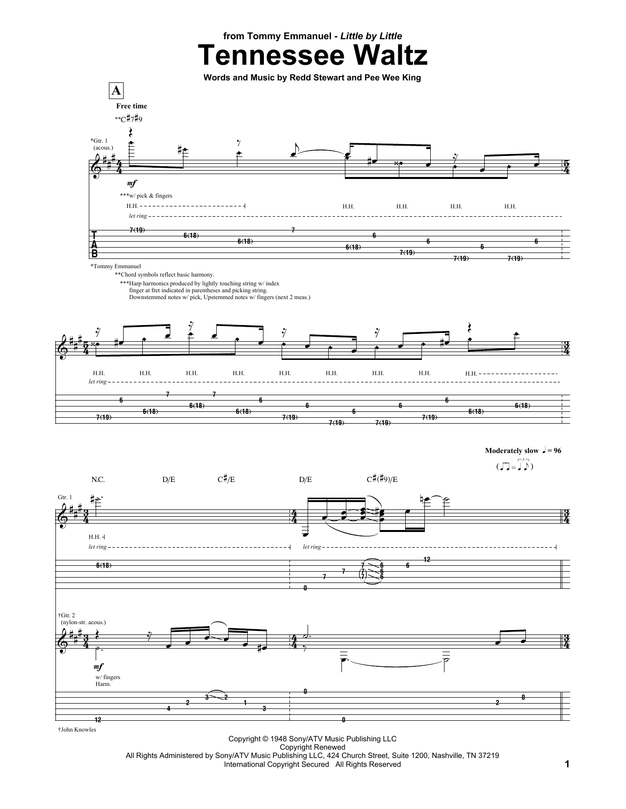 Tablature guitare Tennessee Waltz de Tommy Emmanuel - Tablature Guitare