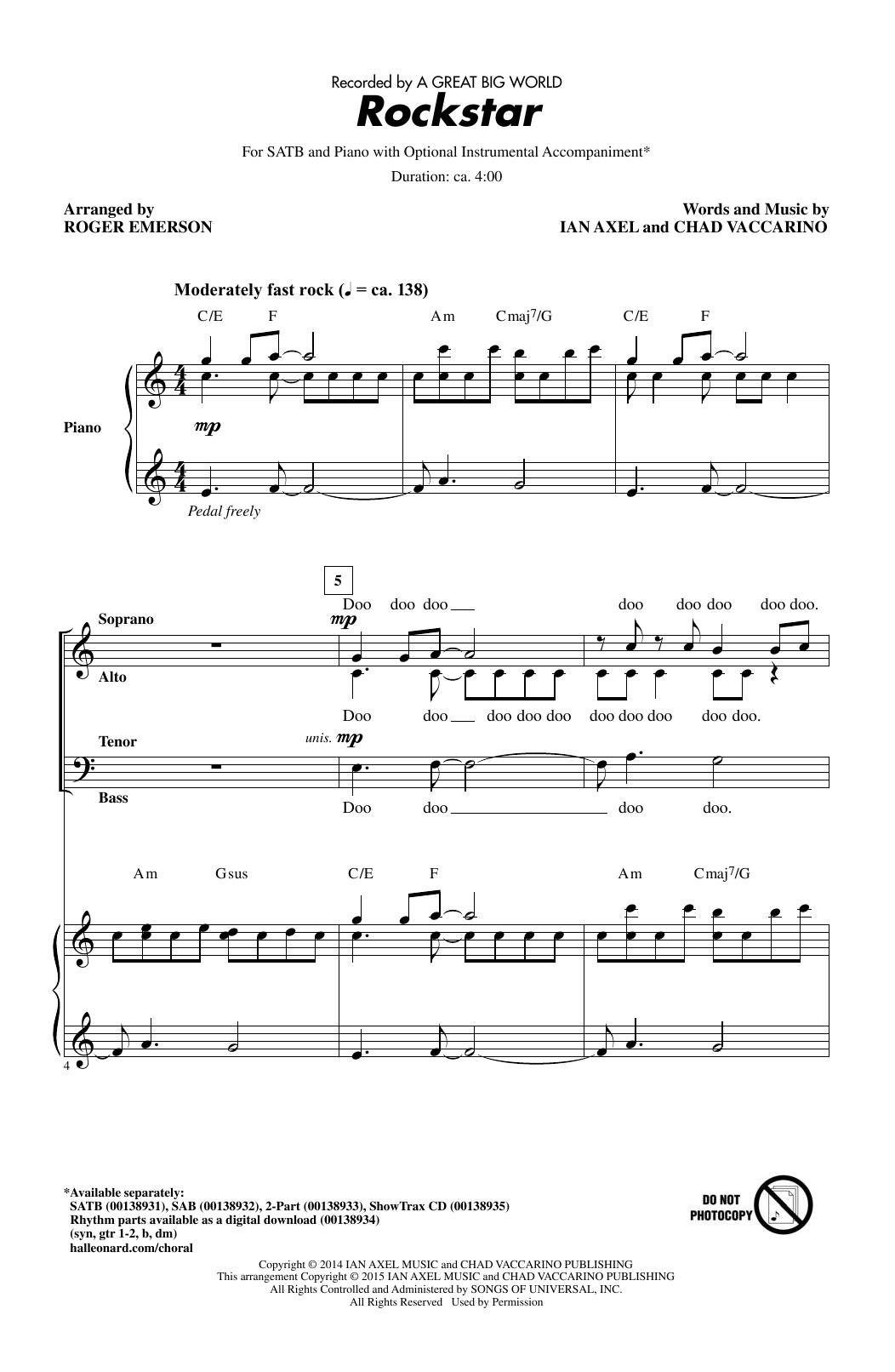 Partition chorale Rockstar (arr. Roger Emerson) de A Great Big World - SATB