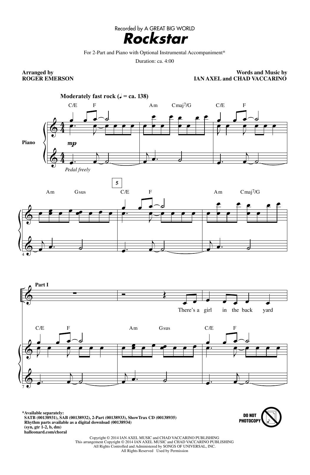 Partition chorale Rockstar (arr. Roger Emerson) de A Great Big World - 2 voix