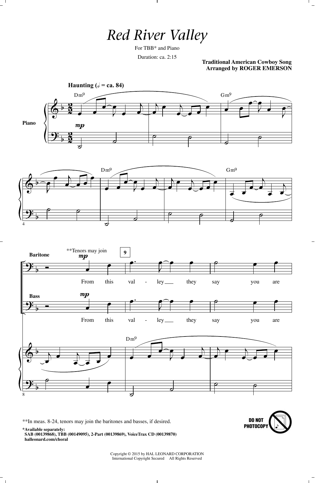 Partition chorale The Red River Valley (arr. Roger Emerson) de Traditional - TBB