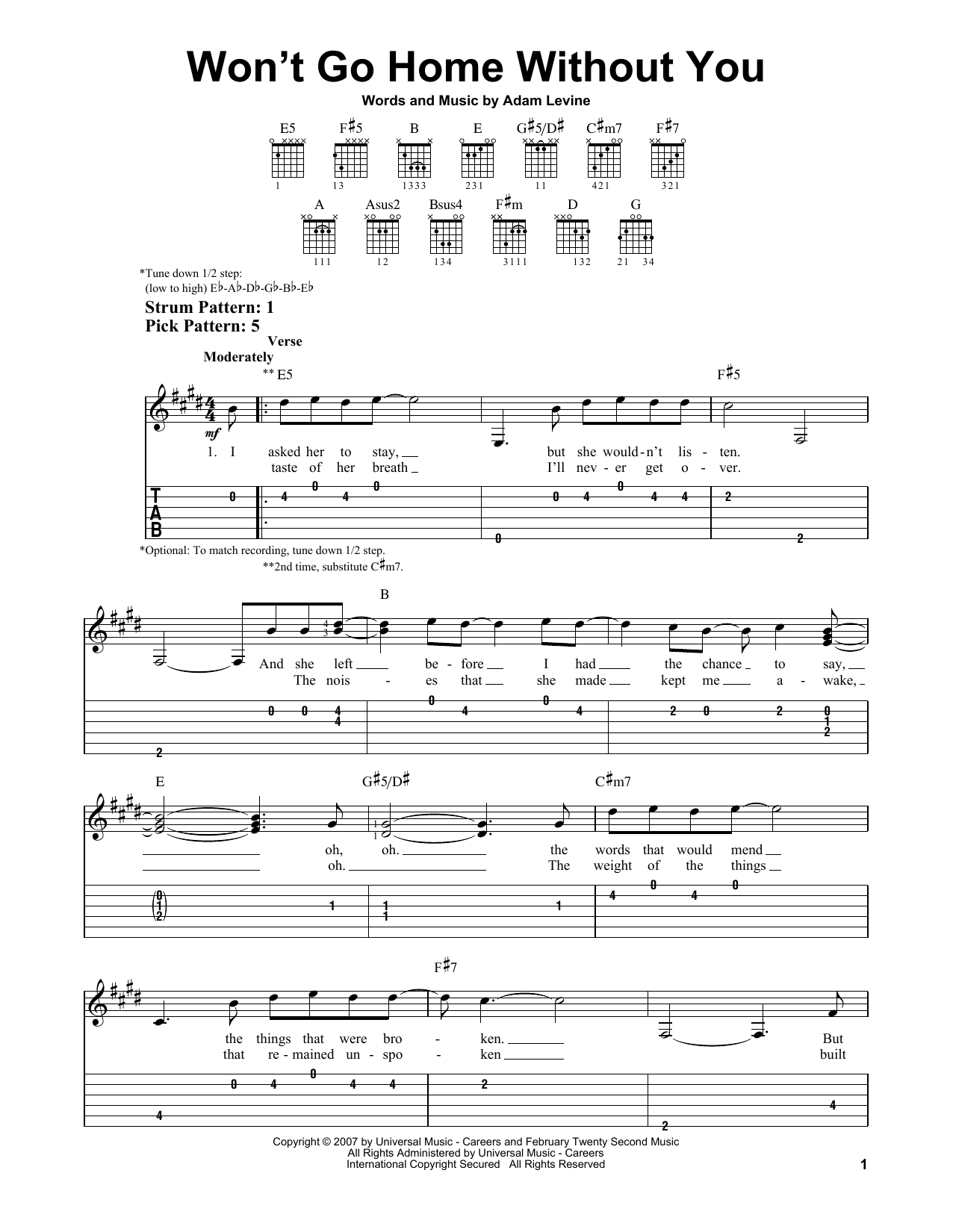 Tablature guitare Won't Go Home Without You de Maroon 5 - Tablature guitare facile