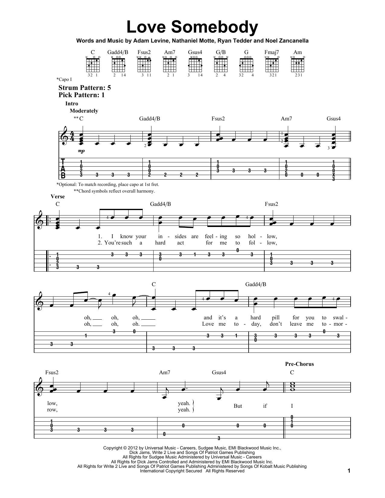 Tablature guitare Love Somebody de Maroon 5 - Tablature guitare facile