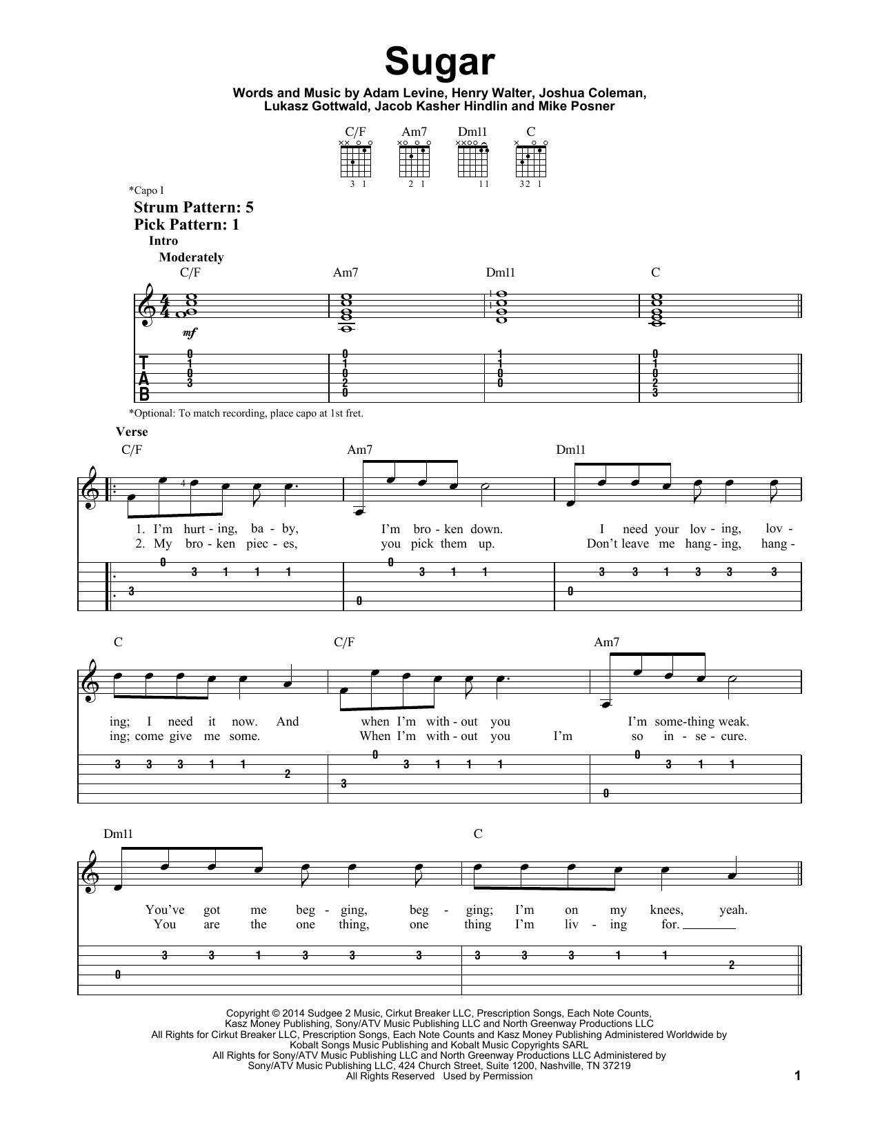 Tablature guitare Sugar de Maroon 5 - Tablature guitare facile