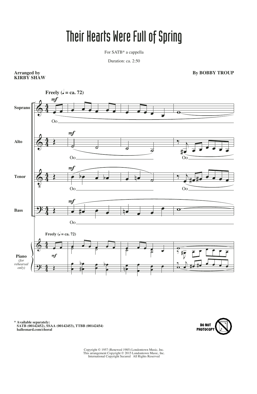 Partition chorale Their Hearts Were Full Of Spring (arr. Kirby Shaw) de The Beach Boys - SATB