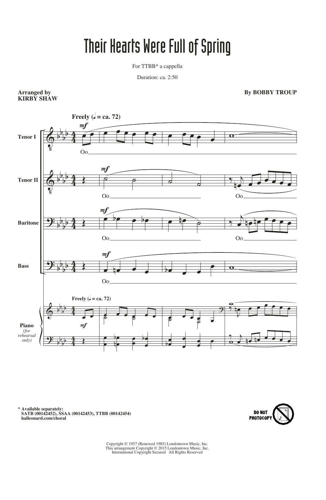 Partition chorale Their Hearts Were Full Of Spring (arr. Kirby Shaw) de The Beach Boys - TTBB