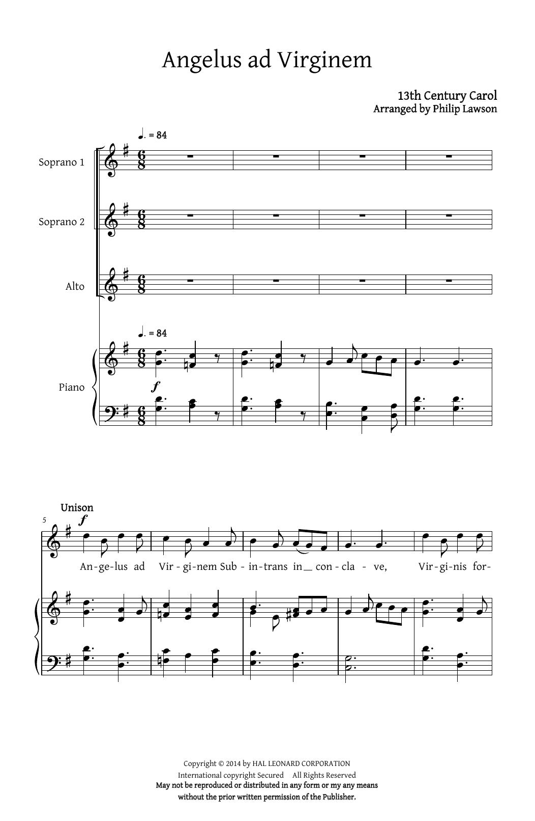 Partition chorale Angelus Ad Virginem (arr. Philip Lawson) de Christmas Carol - SSA