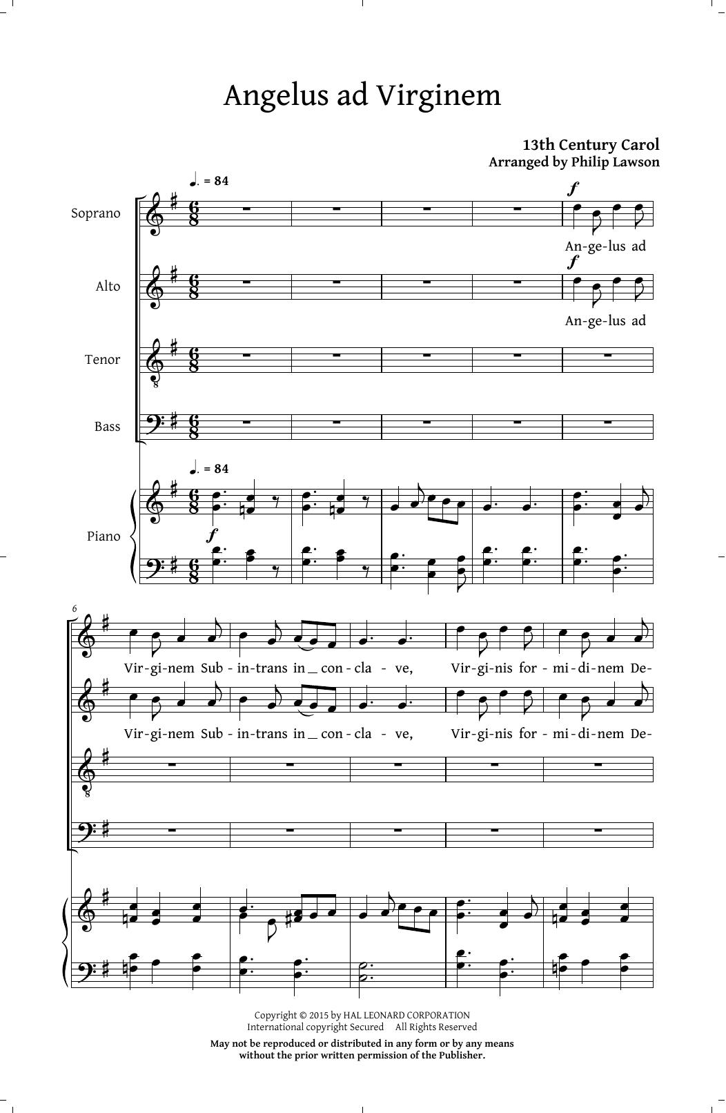Partition chorale Angelus Ad Virginem (arr. Philip Lawson) de Christmas Carol - SATB