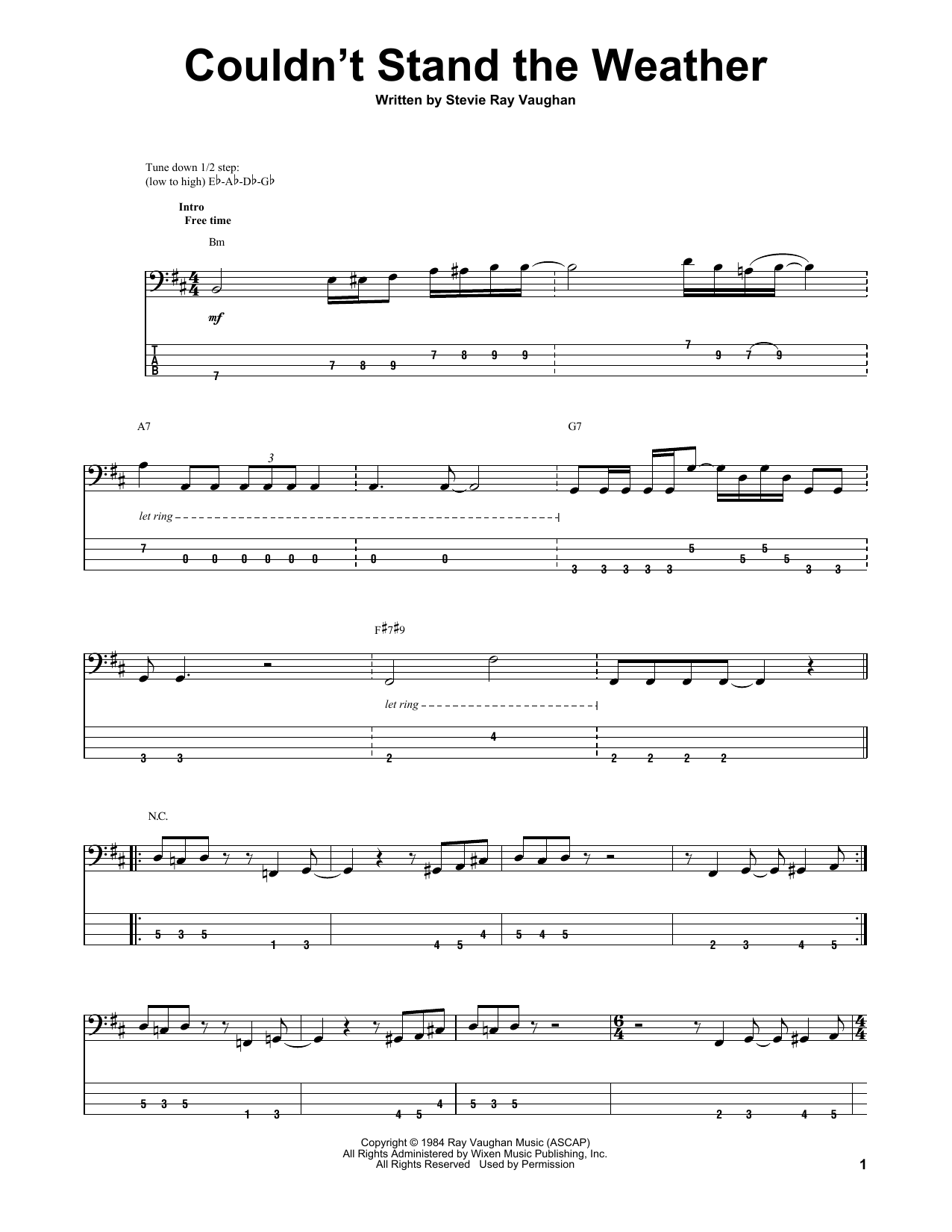 Tablature guitare Couldn't Stand The Weather de Stevie Ray Vaughan - Tablature Basse